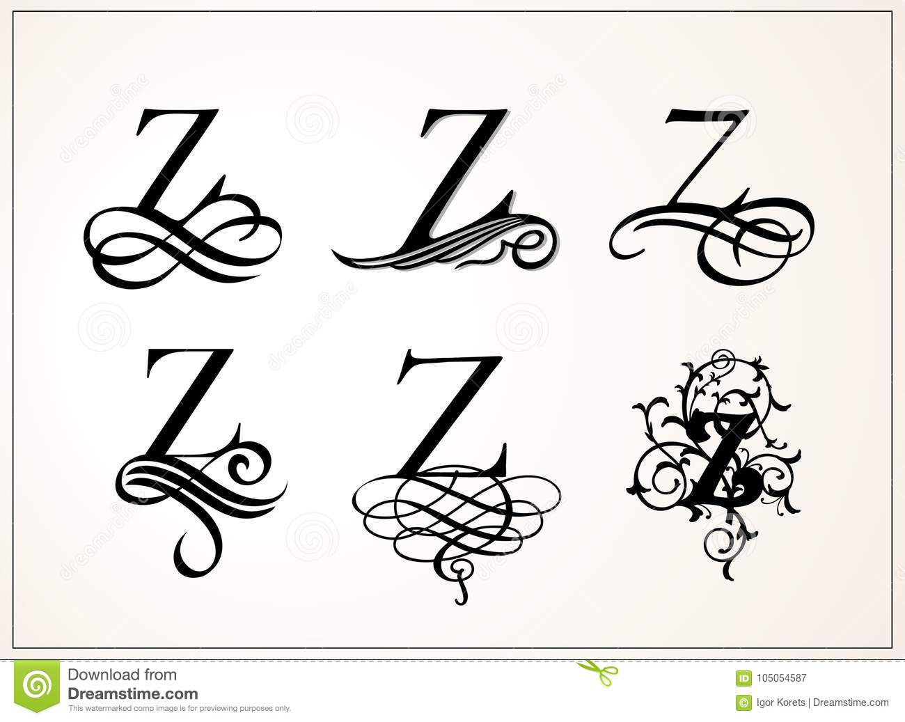 Capital Letter Z For Monograms And Logos Beautiful Filigree Font Victorian Style