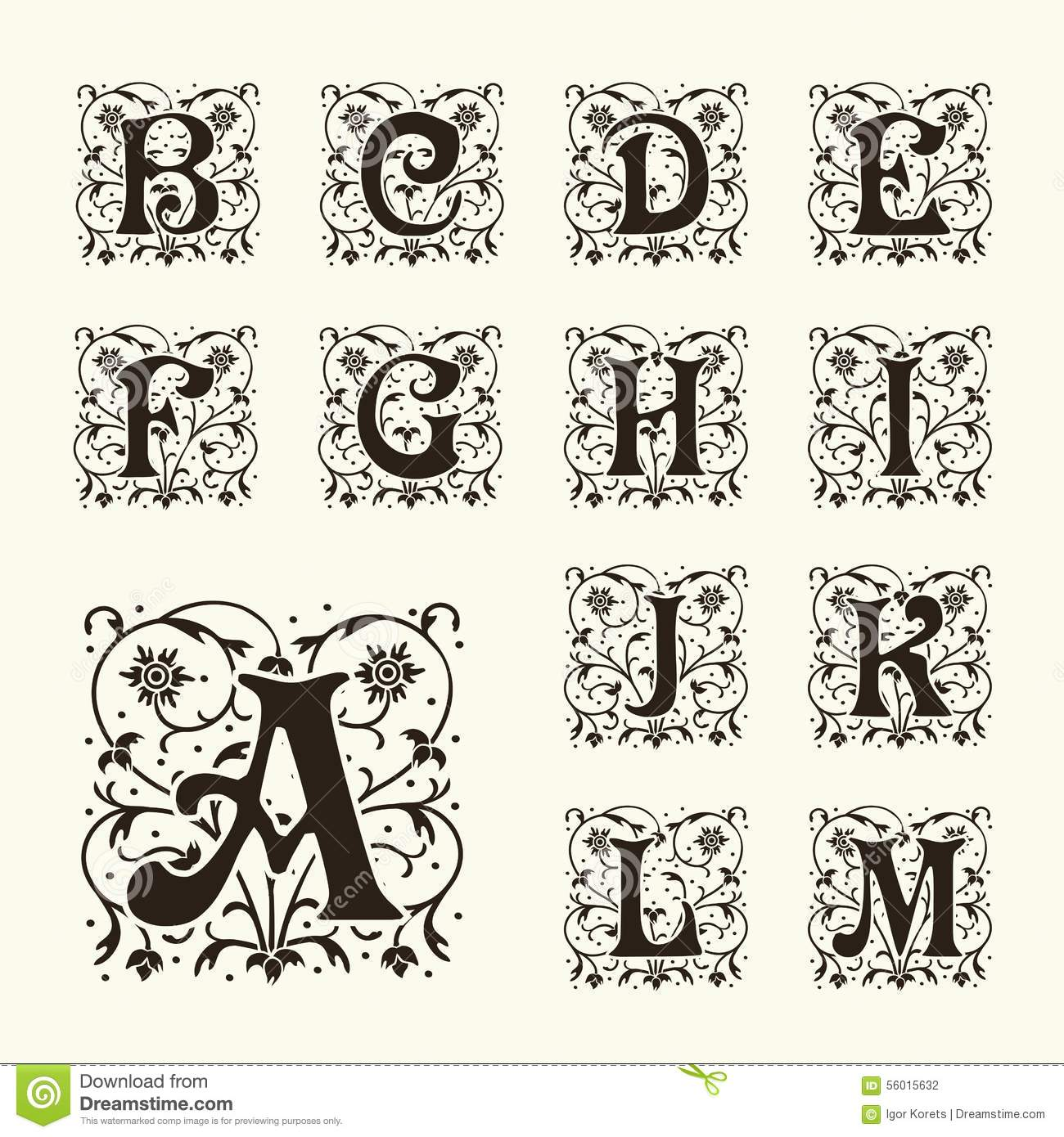 vintage set capital letters  monograms and font stock vector