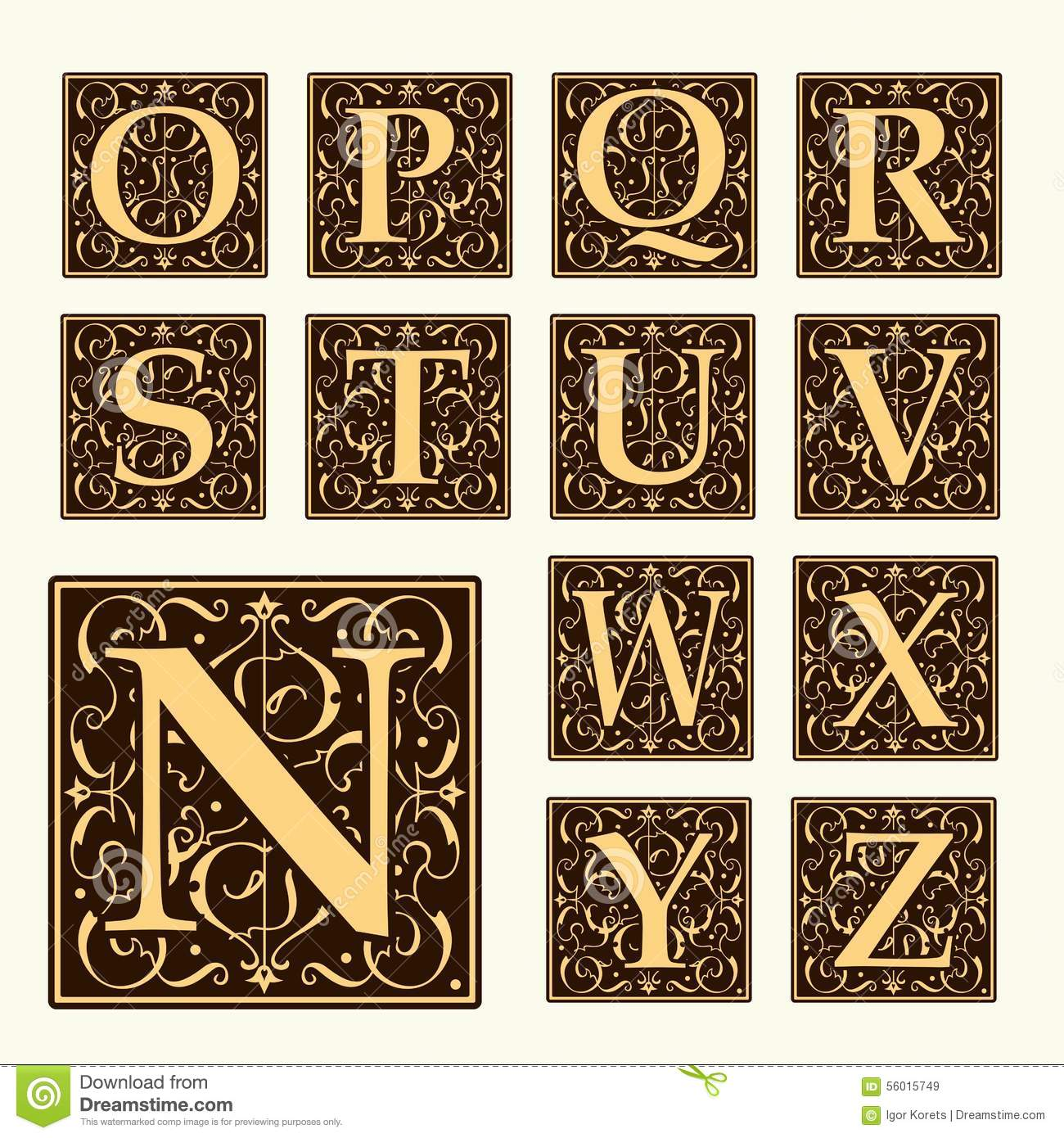 Vintage set capital letters monograms and font stock for Deco style retro