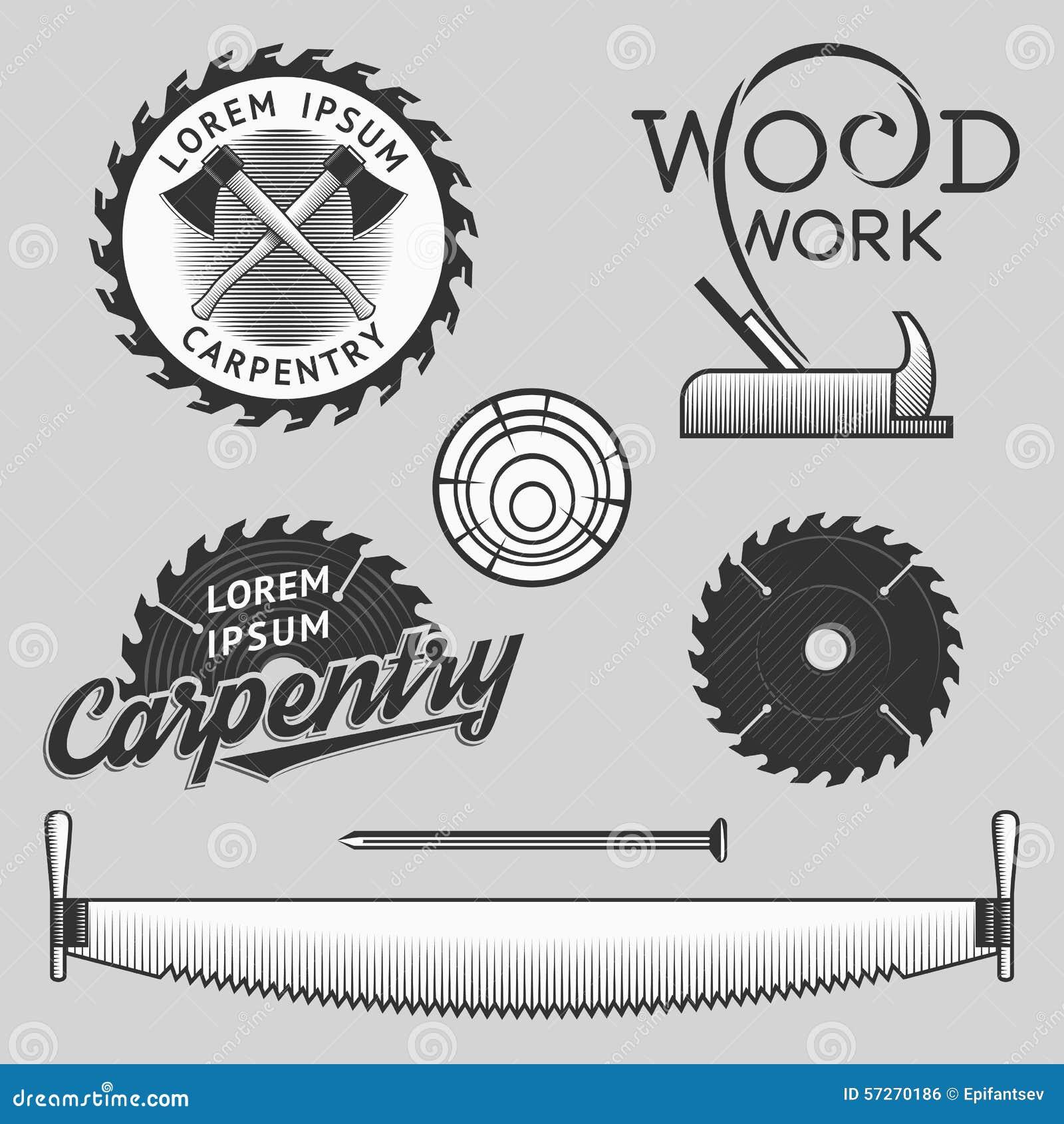Vintage Set Of Carpentry Logos, Labels And Design Elements ...