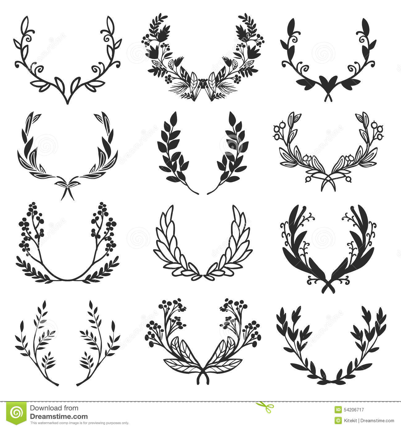 Vintage Set Of Hand Drawn Rustic Laurels Floral Vector Graphic