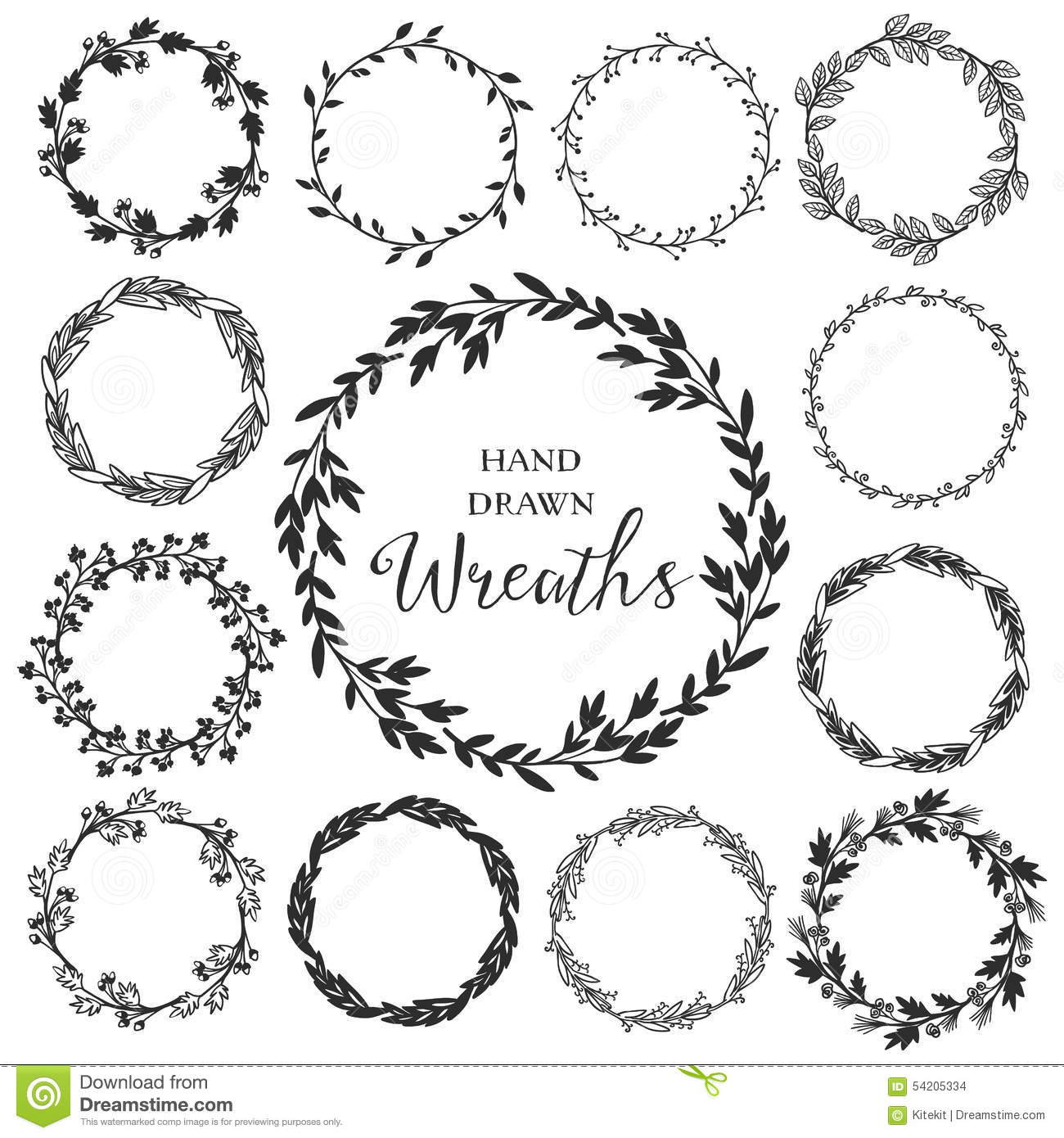 Vintage Set Of Hand Drawn Rustic Wreaths Floral Vector Graphic