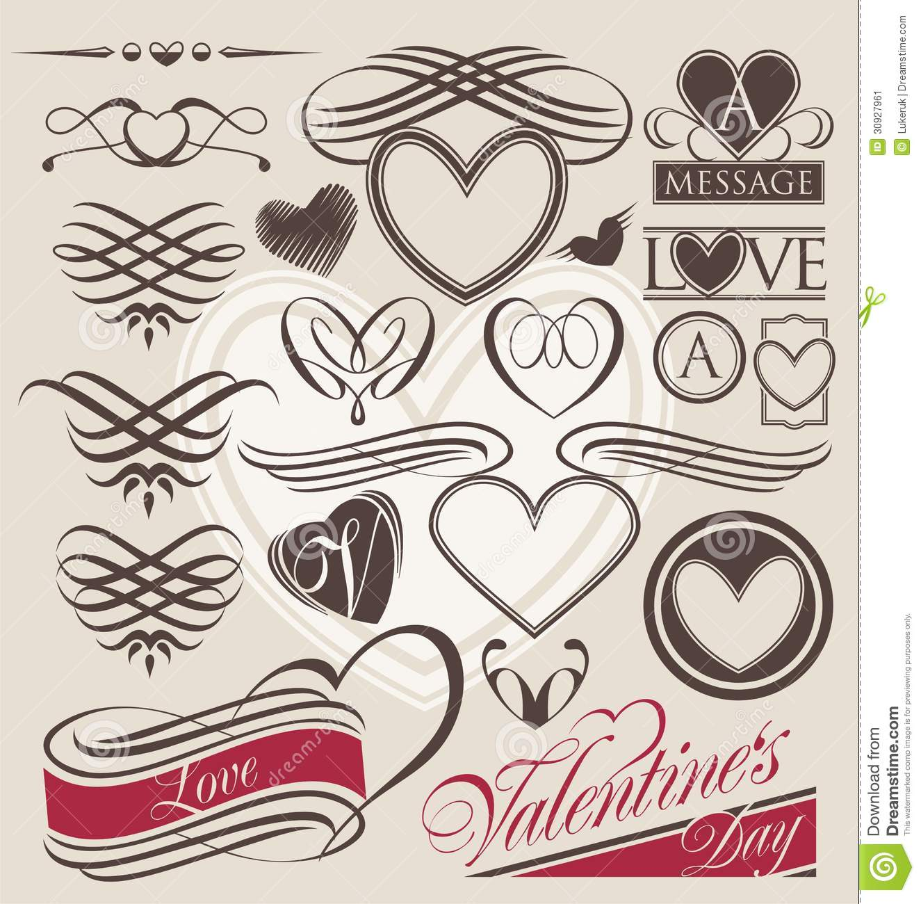Vintage Set Of Heart Design Elements Stock Vector - Illustration of ...