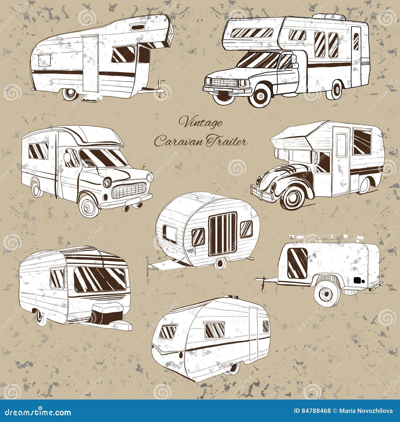 Download Vintage Set Isolated Hand Drawn Doodle Camper Trailer Car Recreation Transport Vehicles