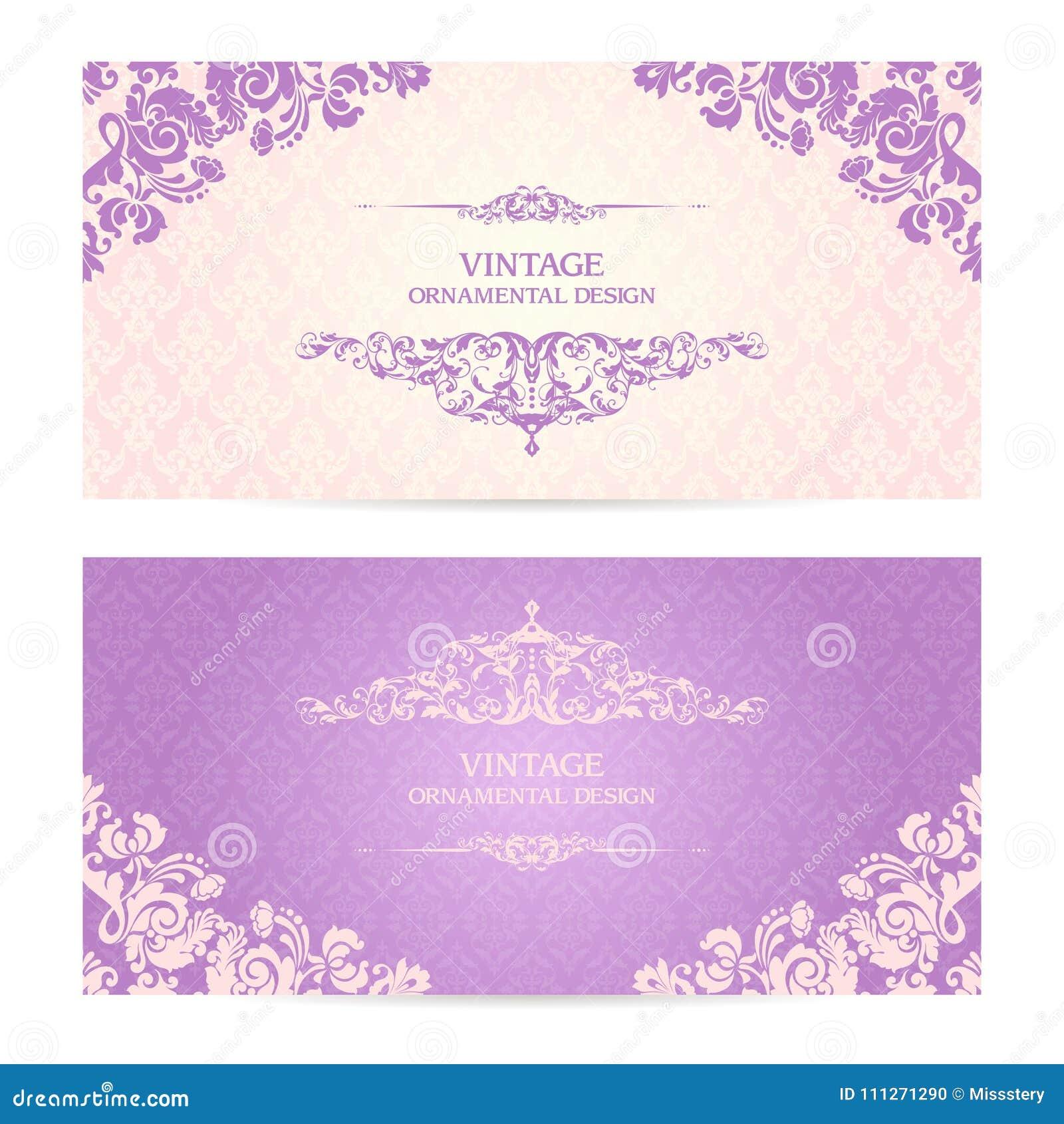 Vintage set of template ornamental borders and patterned background. Elegant lace wedding invitation design Greeting Card, banner.