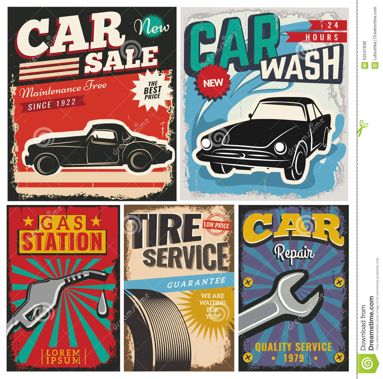 Car Garage Loft Retro Style: Vintage Set Of Vector Cars For Advertising Stock Vector