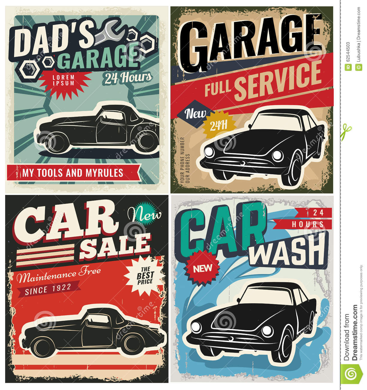 Car Detailing Prices >> Vintage Set Of Vector Cars For Advertising Stock Vector ...