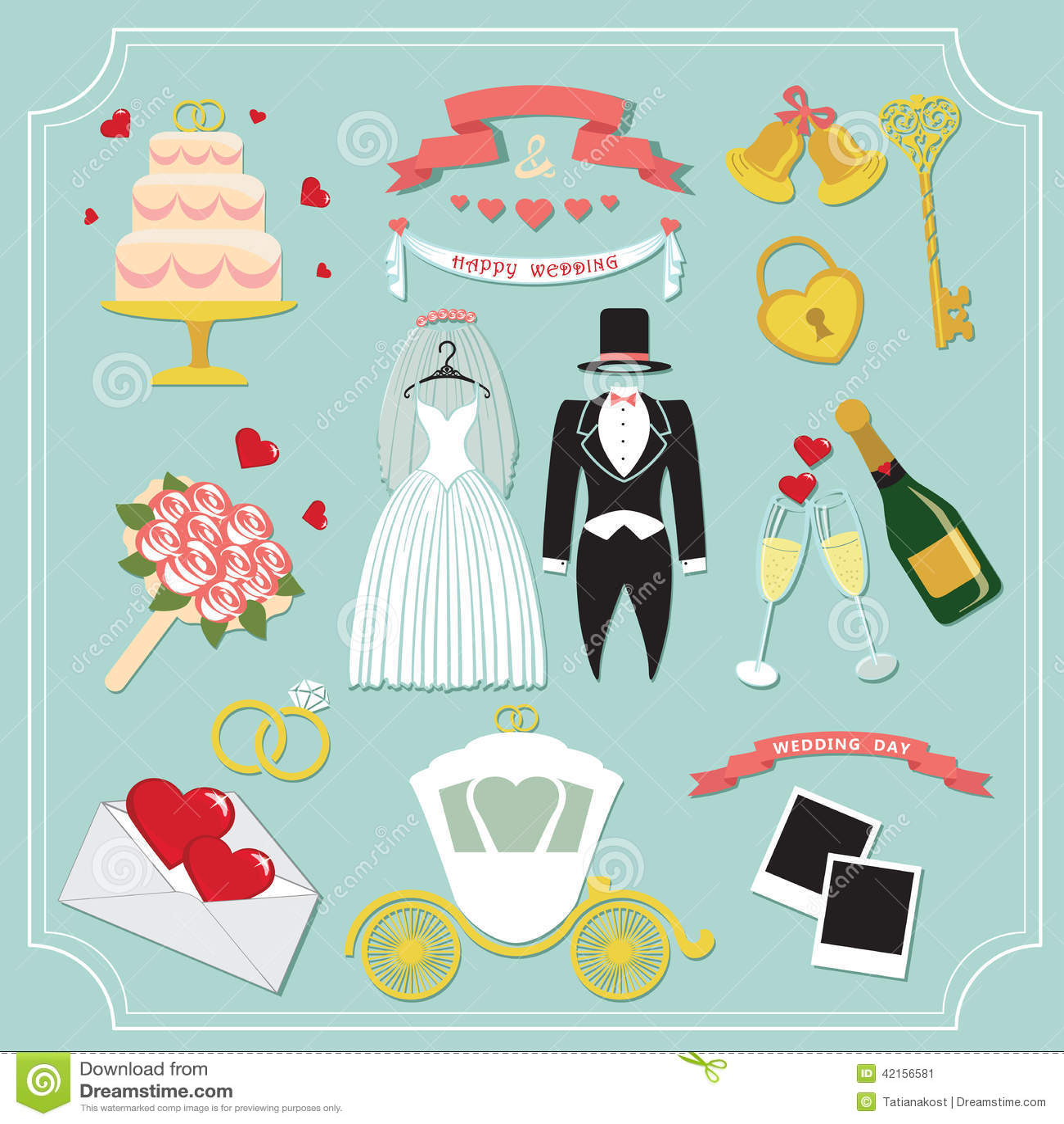 Vintage Set For Wedding Invitation Cute Design Elements Stock