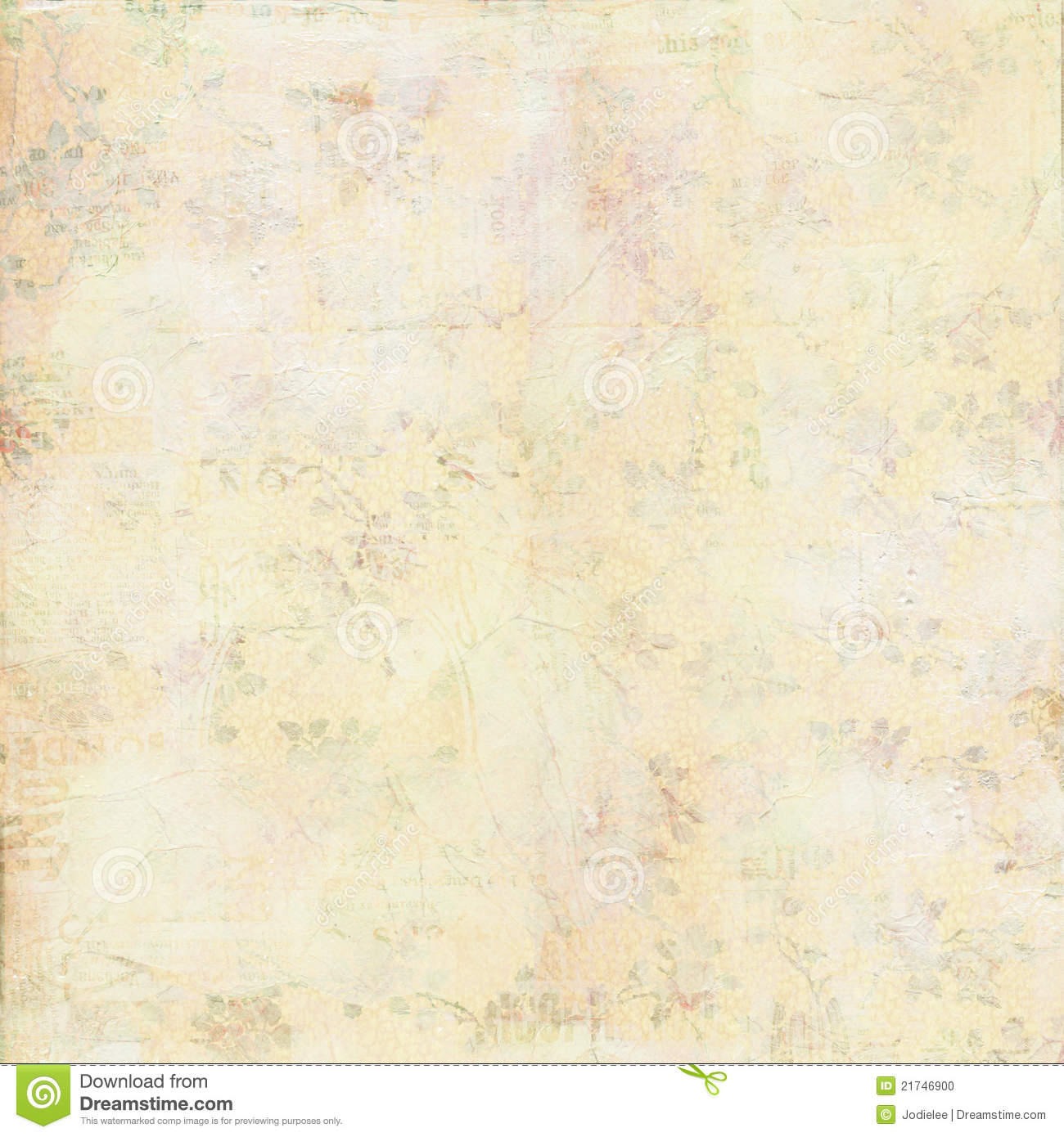 Vintage Shabby Canvas Painted Texture With Flowers Stock
