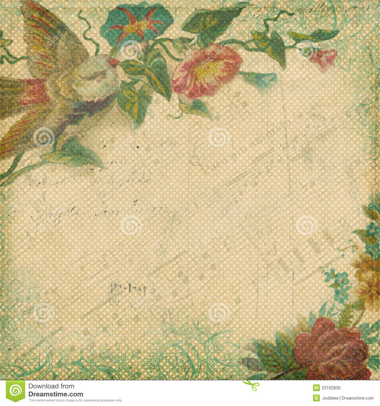 Vintage Shabby Chic Background With Flowers
