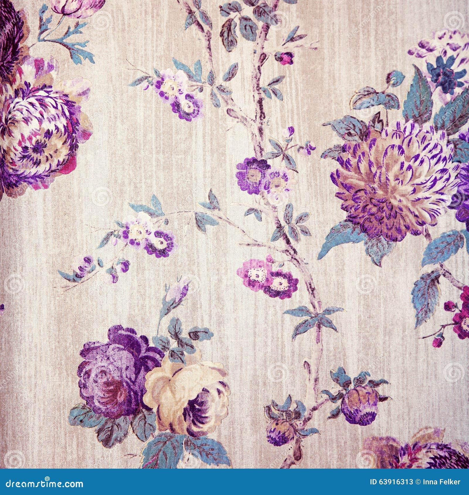 vintage shabby chic beige wallpaper with violet floral victorian stock image image 63916313. Black Bedroom Furniture Sets. Home Design Ideas