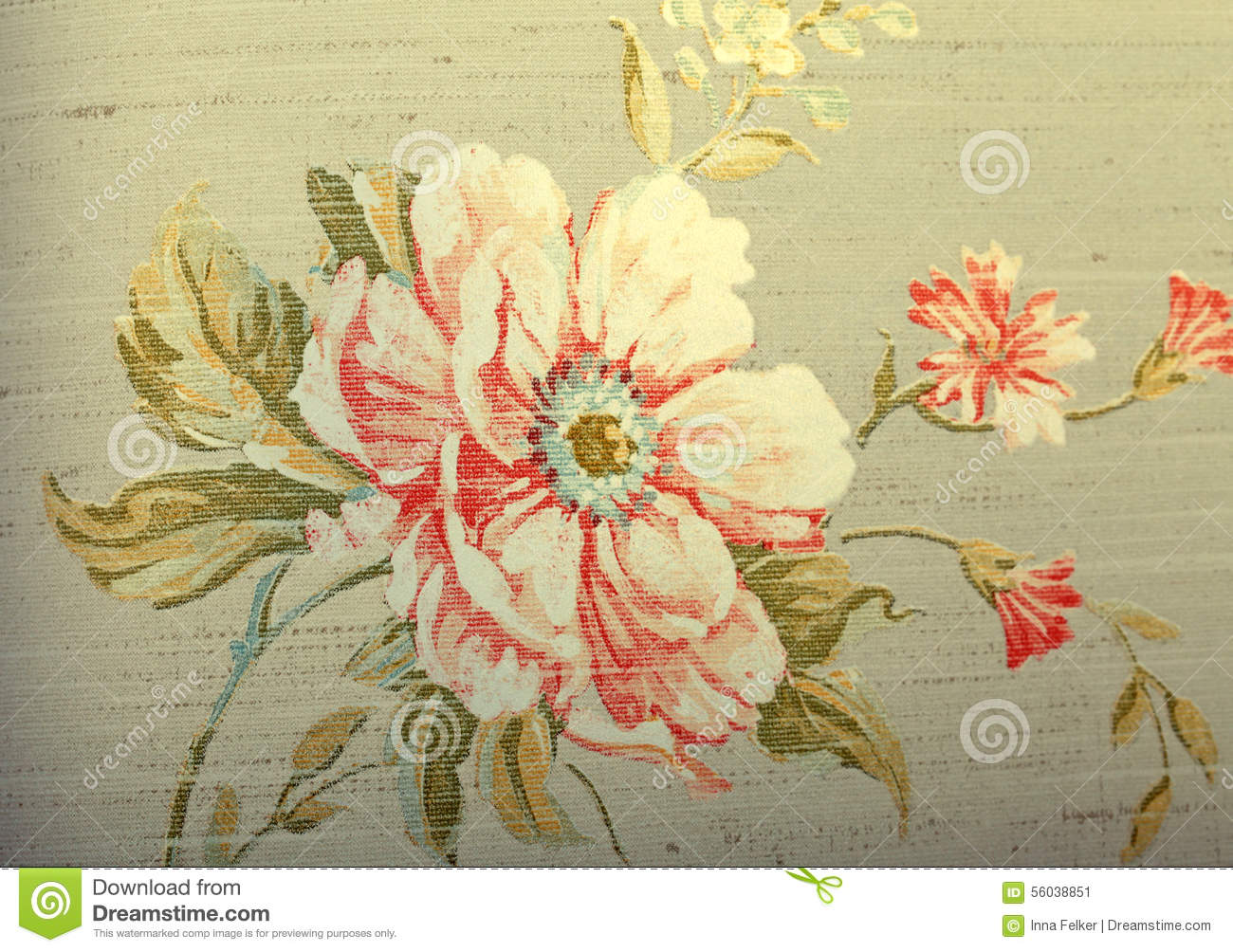Vintage Shabby Chic Brown Wallpaper With Floral Pattern