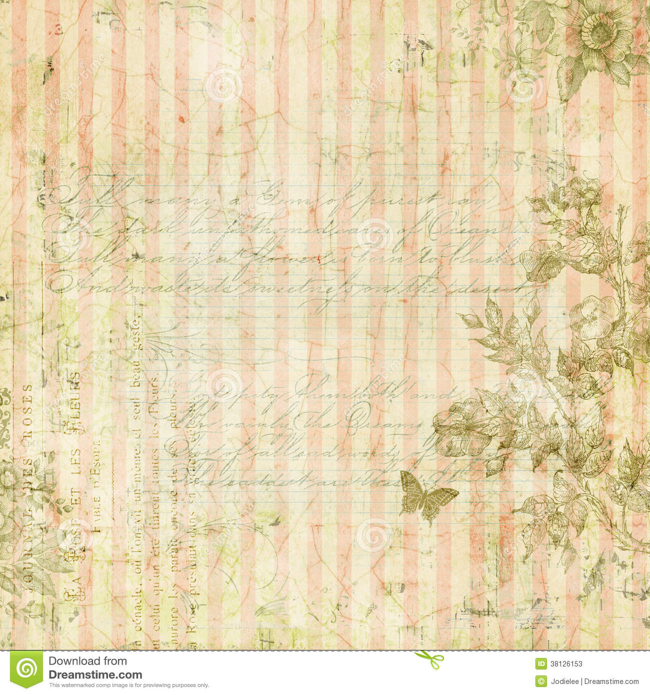 Vintage Shabby Chic Pink Striped Background With Floral Frame And Butterfly