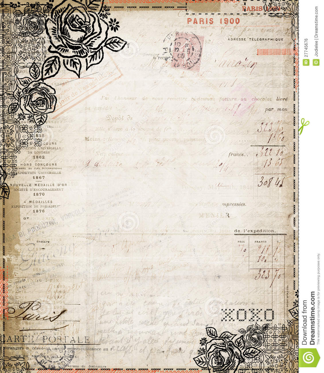 What Is An Open Invoice Excel Vintage Shabby Chic Rose French Invoice Stationary Royalty Free  Pay Ebay Invoice Excel with Bluetooth Receipt Printer Ipad Pdf Black Brown Chic French Invoice Rose Shabby Stationary Vintage  Sage Invoice Template Download Word