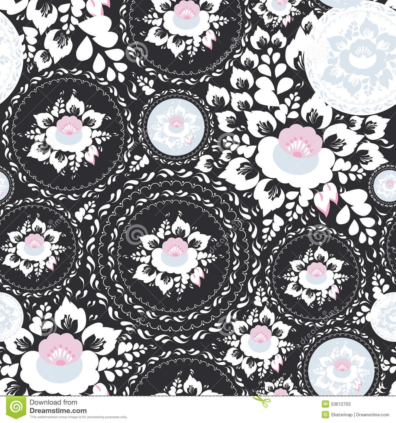 Vintage shabby chic seamless ornament pattern with pink and white background black flowers dhlflorist Choice Image