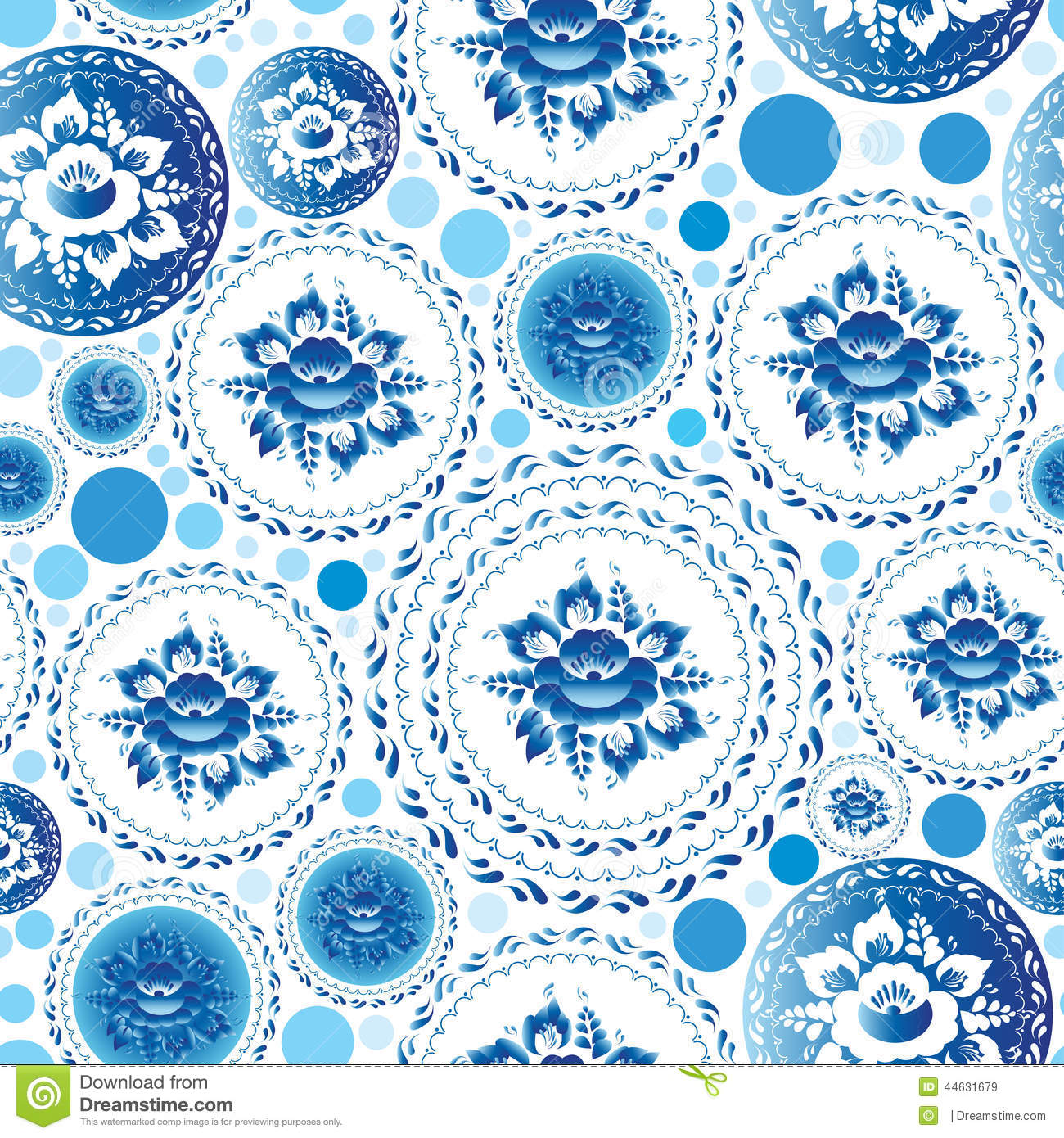 Vintage shabby Chic Seamless pattern with blue flowers and ...