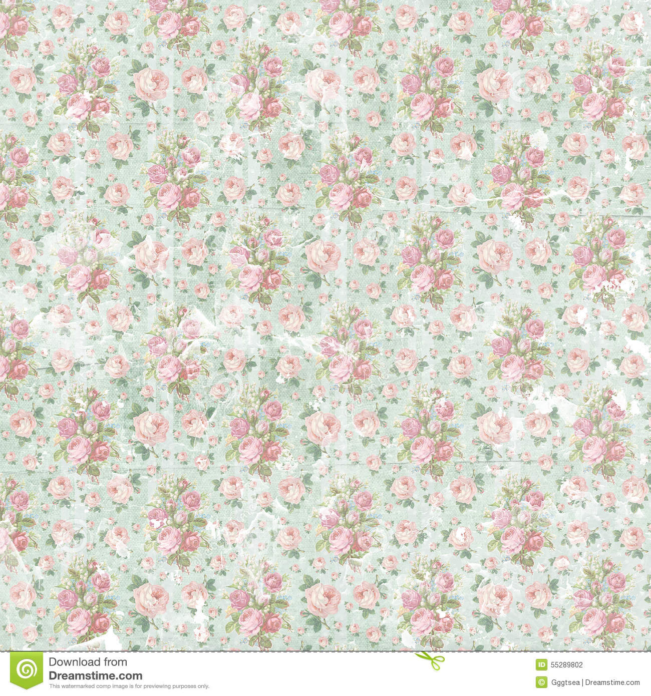 Vintage Shabby Floral Paper Background Stock Photo Image Of Aged