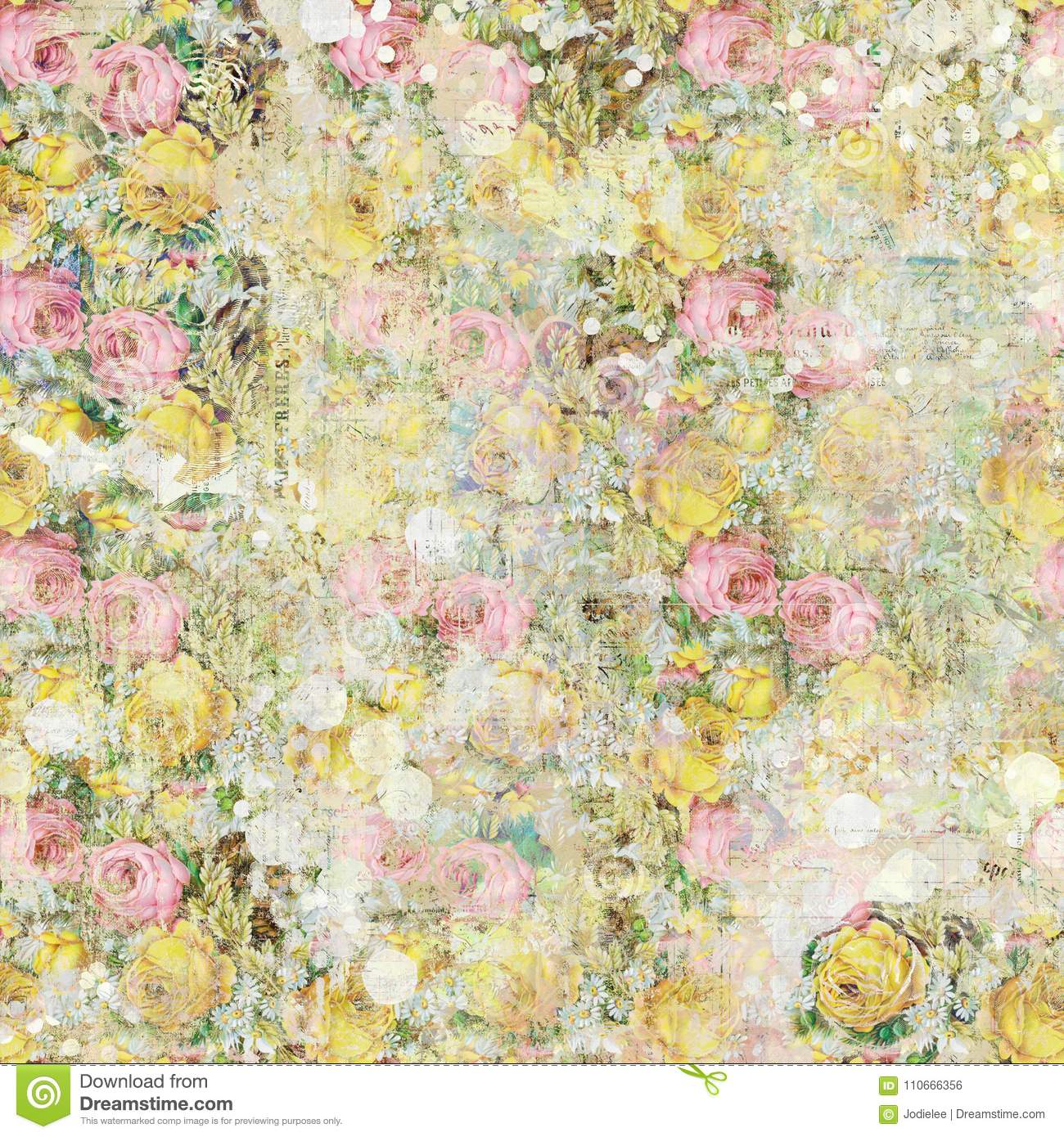 Vintage shabby painted floral roses background seamless pattern