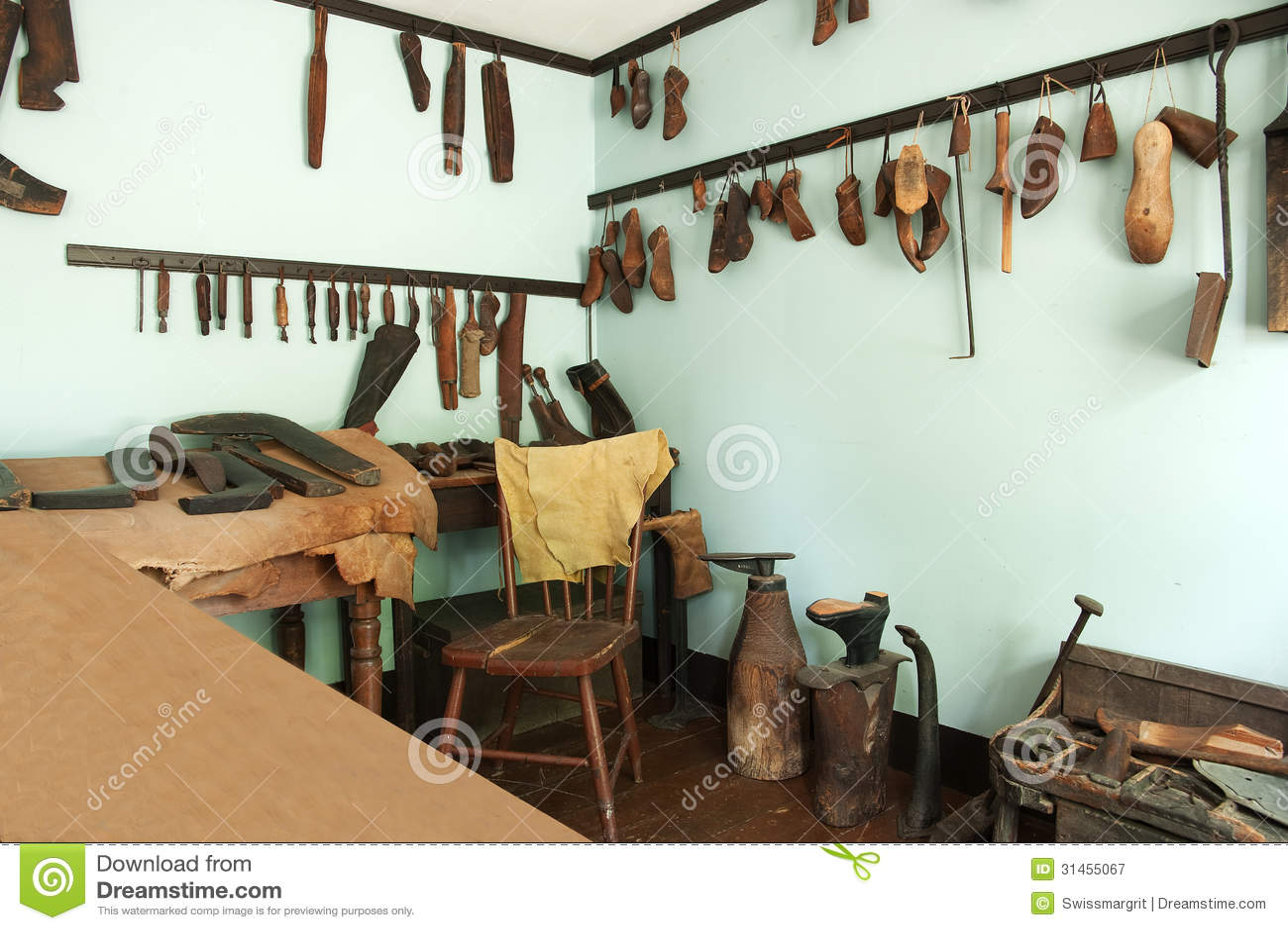 Vintage shoe shop stock image. Image of