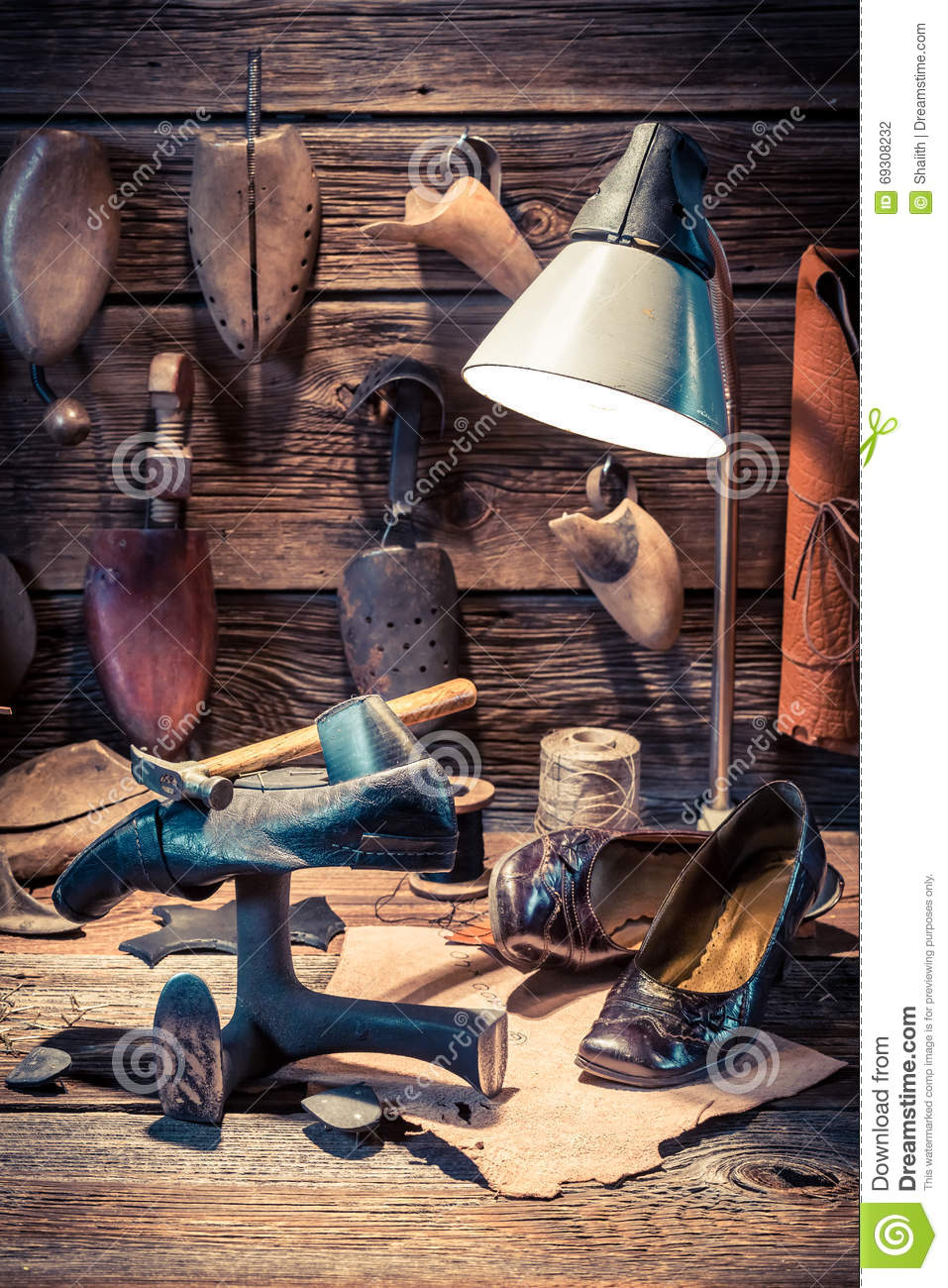 Vintage Picture Shoe Maker Leather