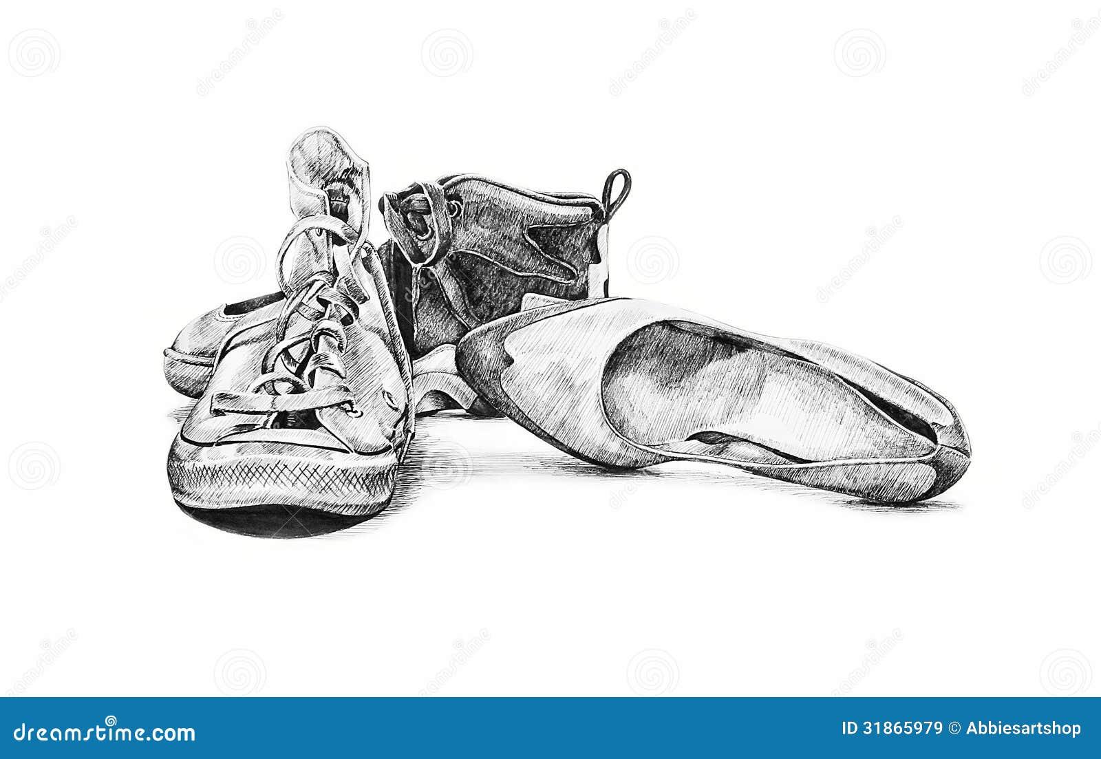 Vintage Shoes Hand Drawn Illustration Stock Illustration