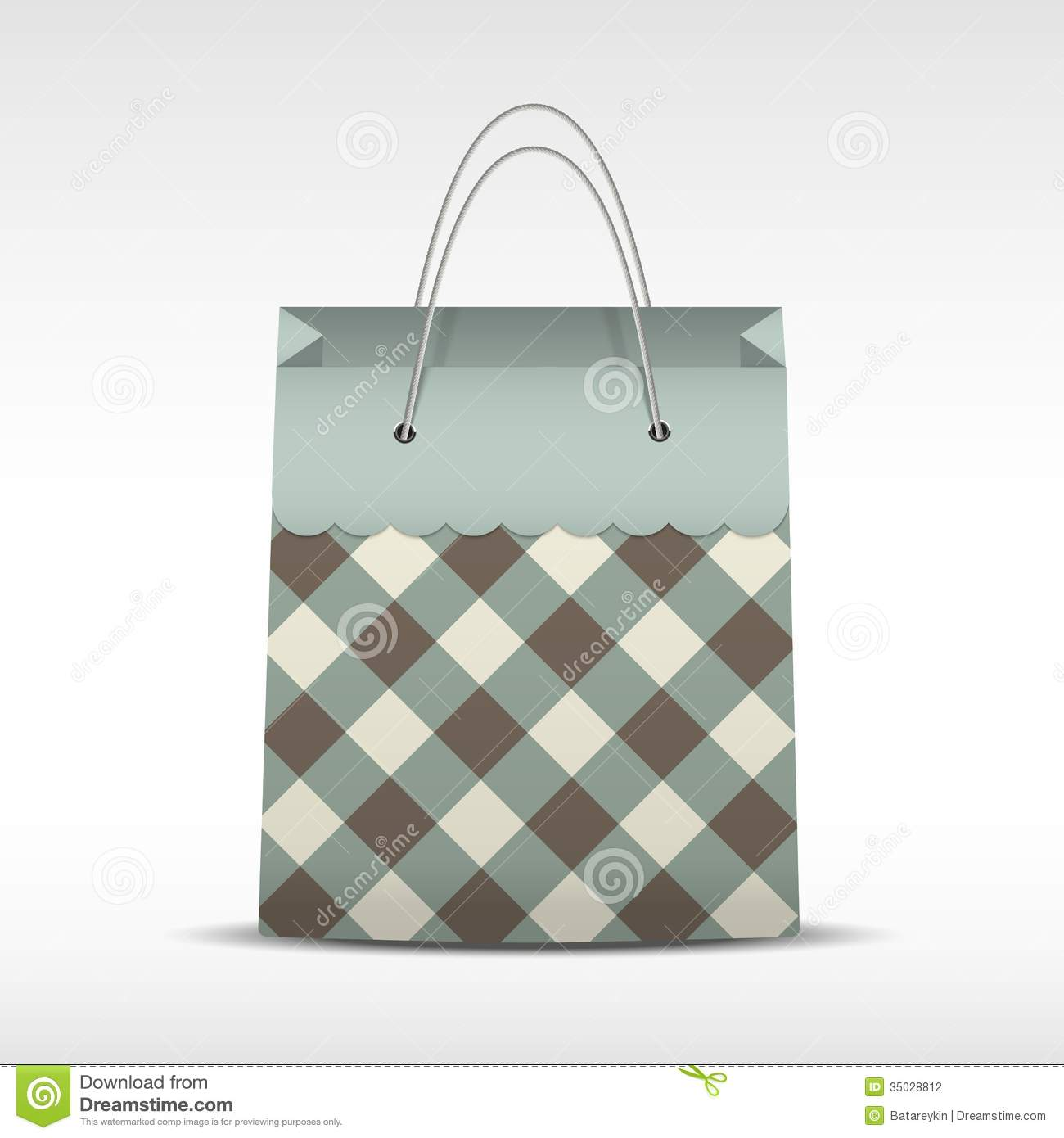 Vintage Shopping Bag In Check Texture Stock Photography ...
