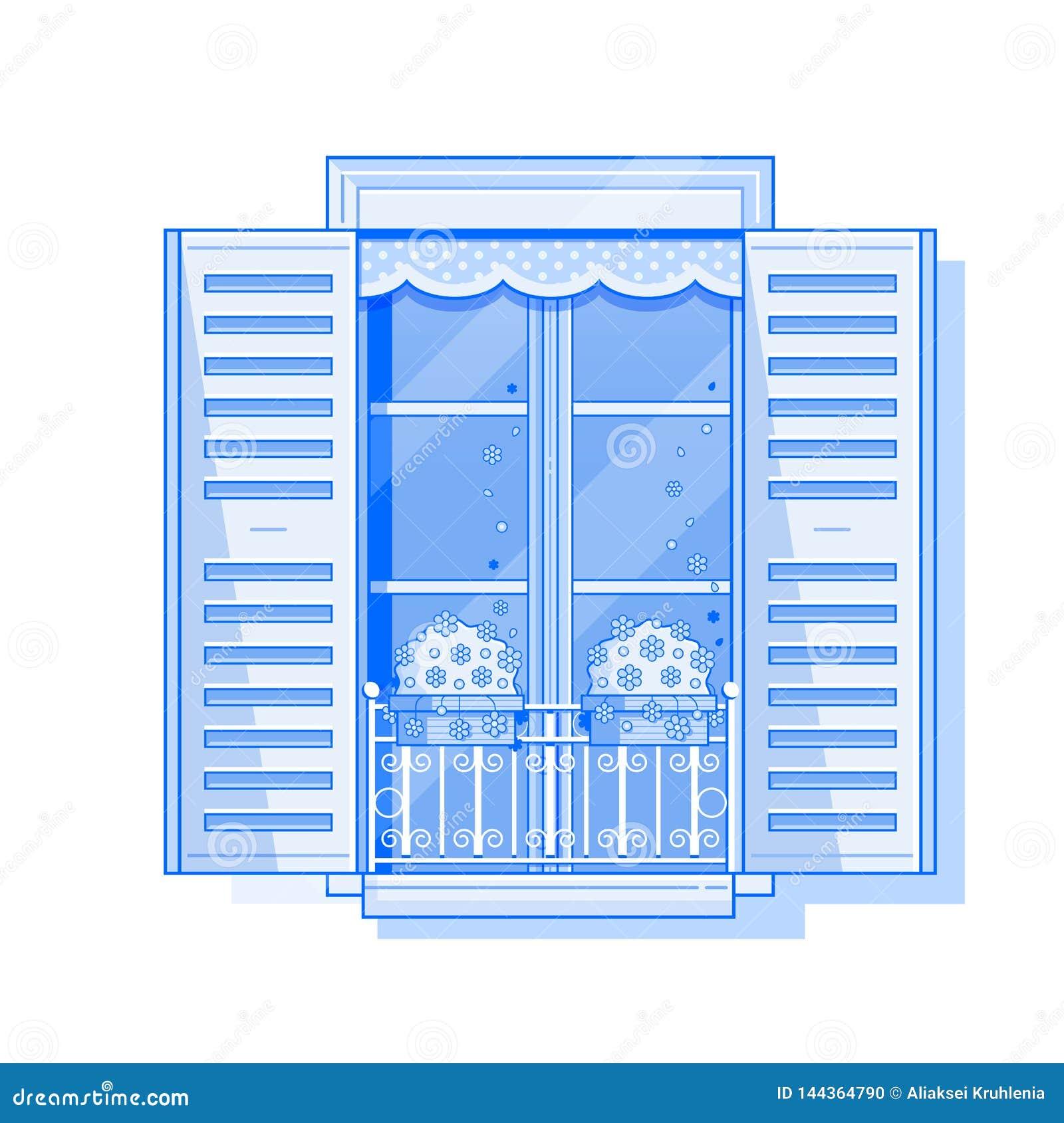 Vintage Shuttered Window Icon Stock Vector Illustration Of