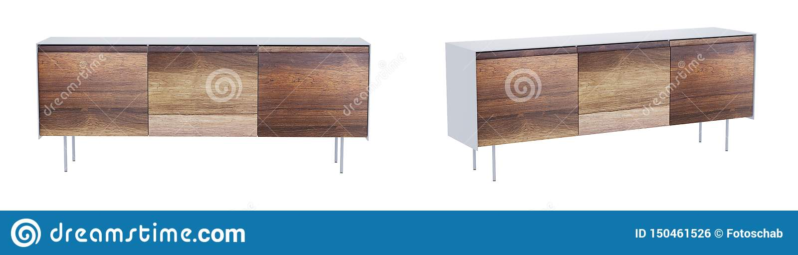 Vintage sideboard isolated on white with clipping path. 3D render.