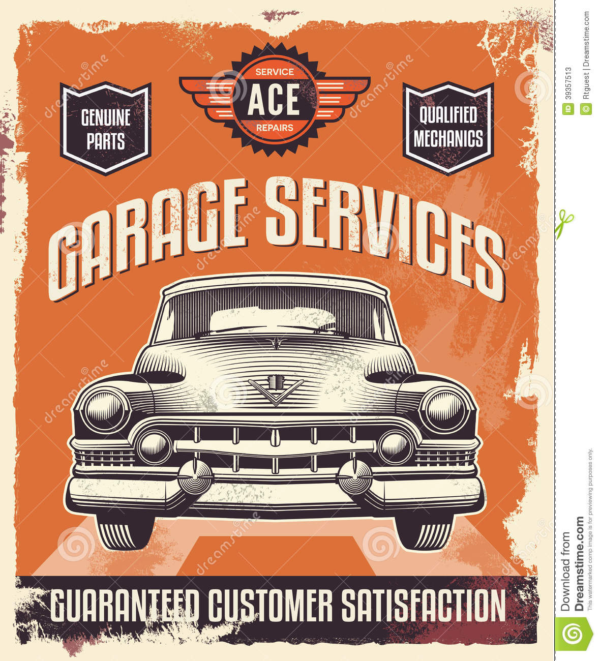 ... Poster - Classic Car - Garage Stock Vector - Image: 39357513