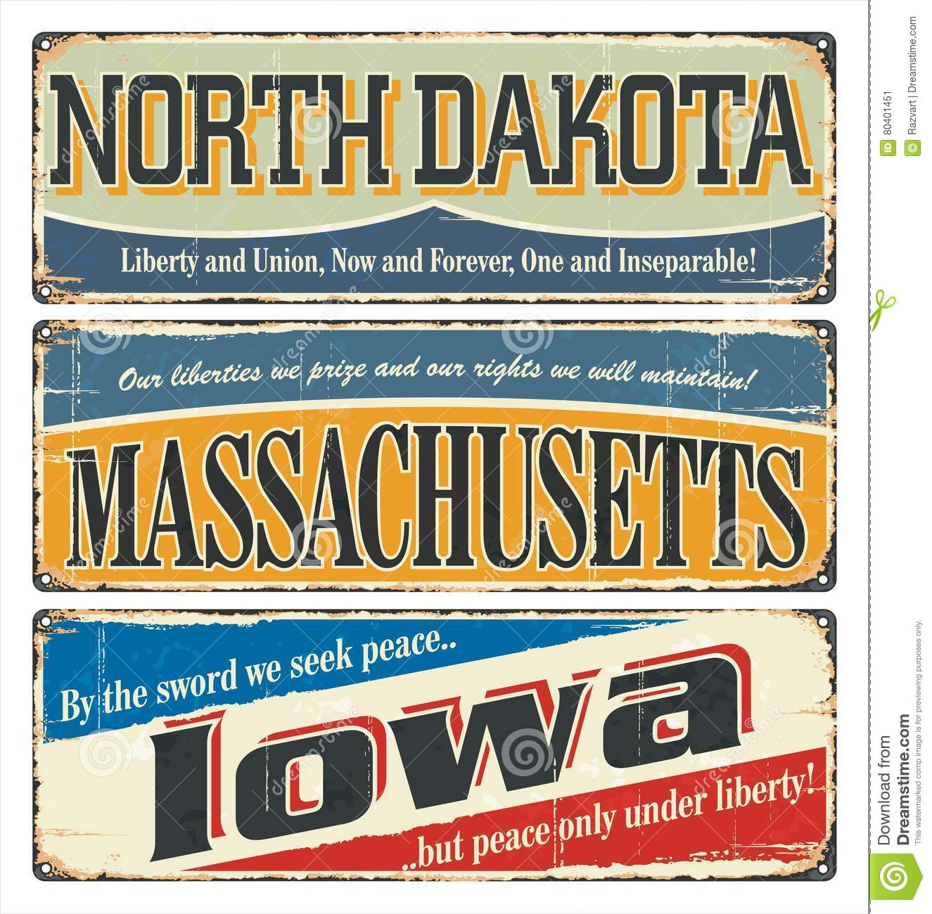 Vintage sign collection with us state north dakota massachusetts vintage sign collection with us state north dakota massachusetts iowa retro souvenirs or postcard templates on rust backgroun pronofoot35fo Gallery