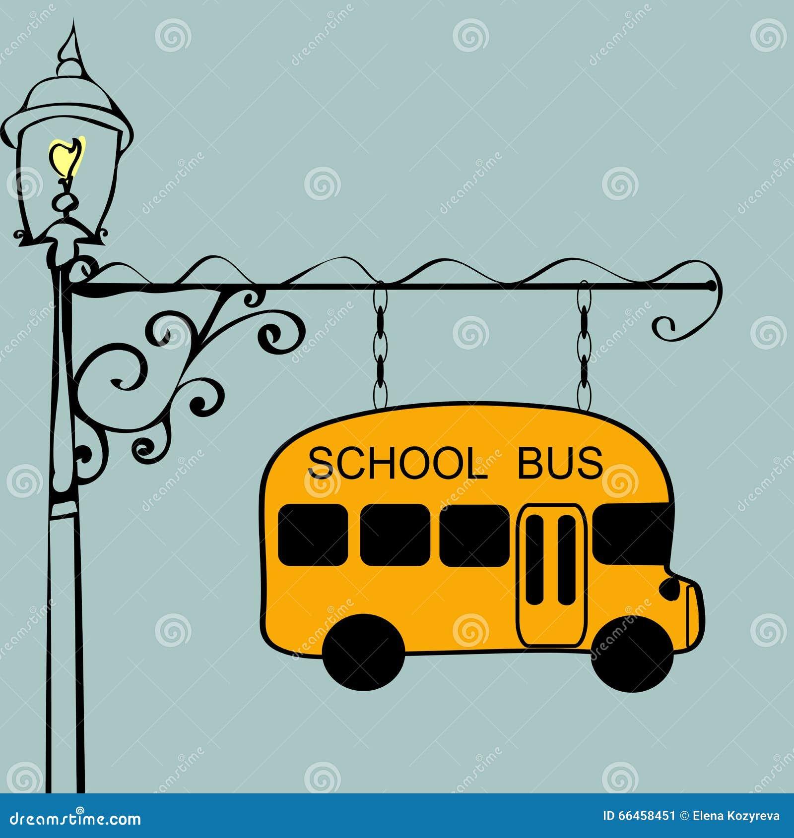 Vintage Sign School Bus Stop Stock Vector - Image: 66458451