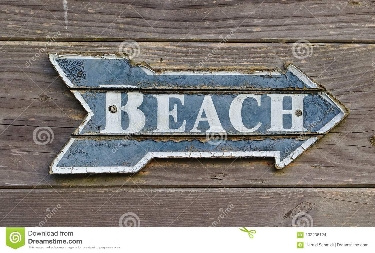 Vintage signpost on a wooden wall saying `Beach`