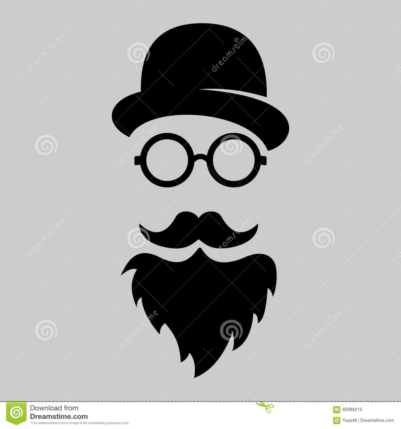 a3bde3b10 Vintage silhouette of bowler, mustaches, glasses. Vector illustration of  gentleman or hipster. Retro gentleman icon. Vector art. Logo template of  gentleman ...