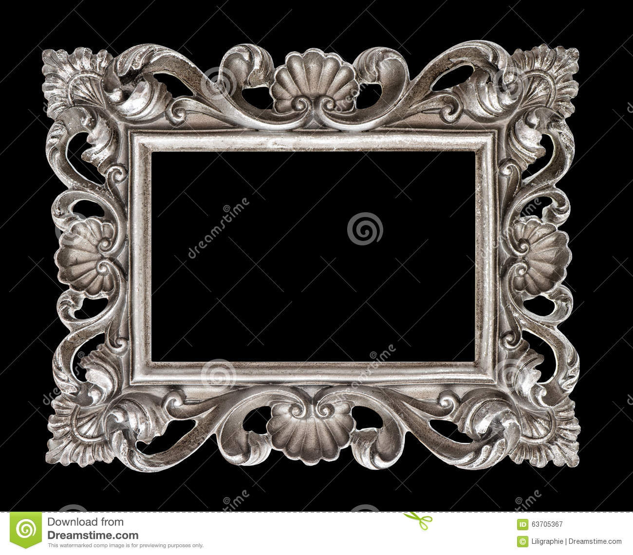 Vintage Silver Baroque Style Picture Frame Isolated Over