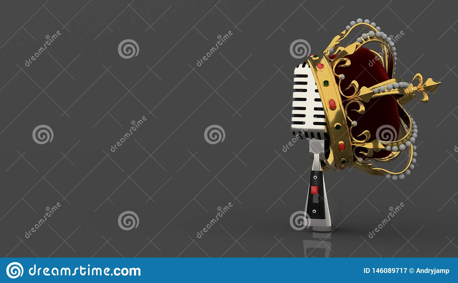 Vintage silver retro microphone on grey background