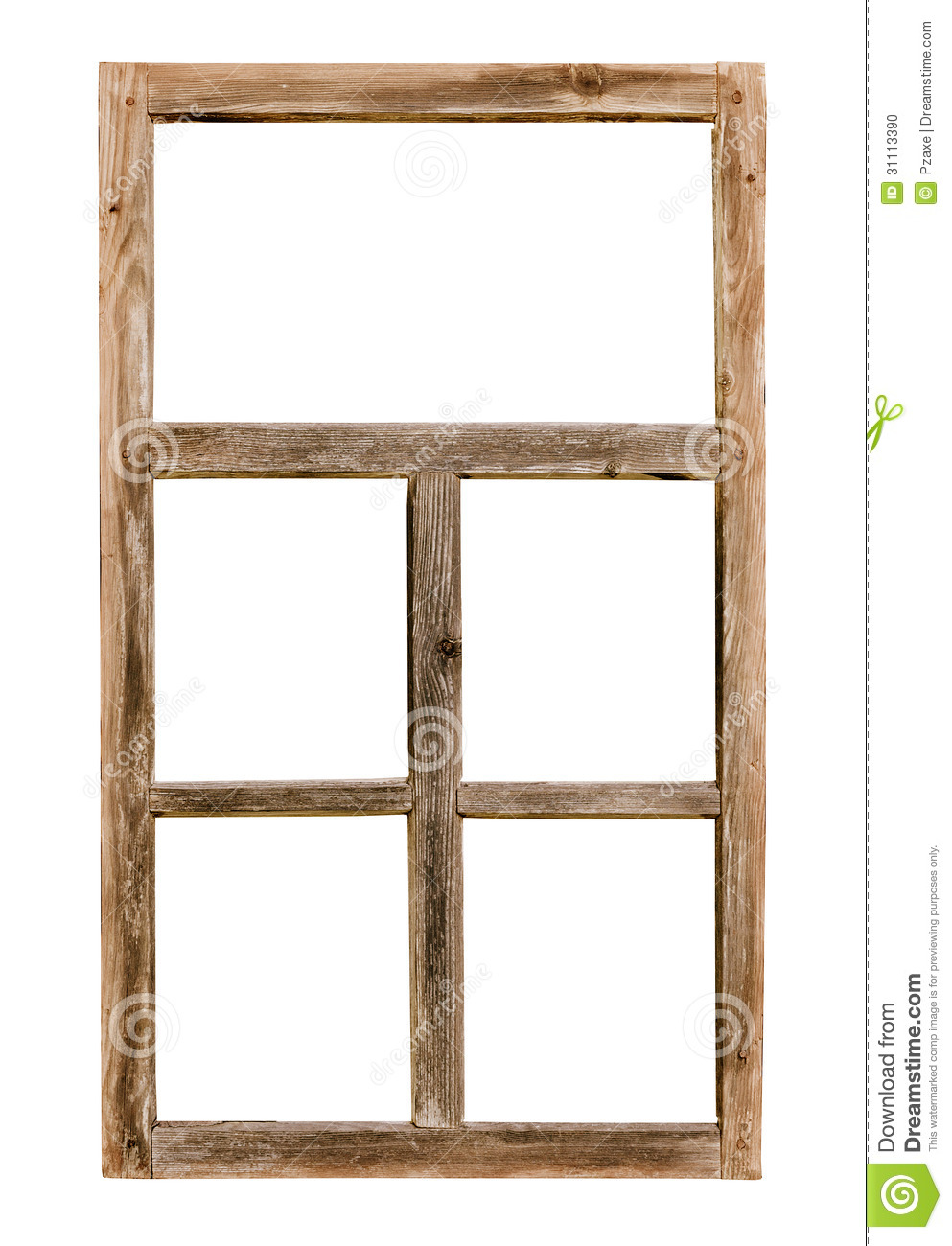 Vintage simple wooden window frame isolated on white stock for Cadre fenetre bois