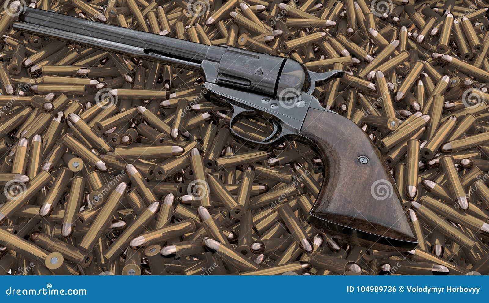 Vintage revolver background. 3D render