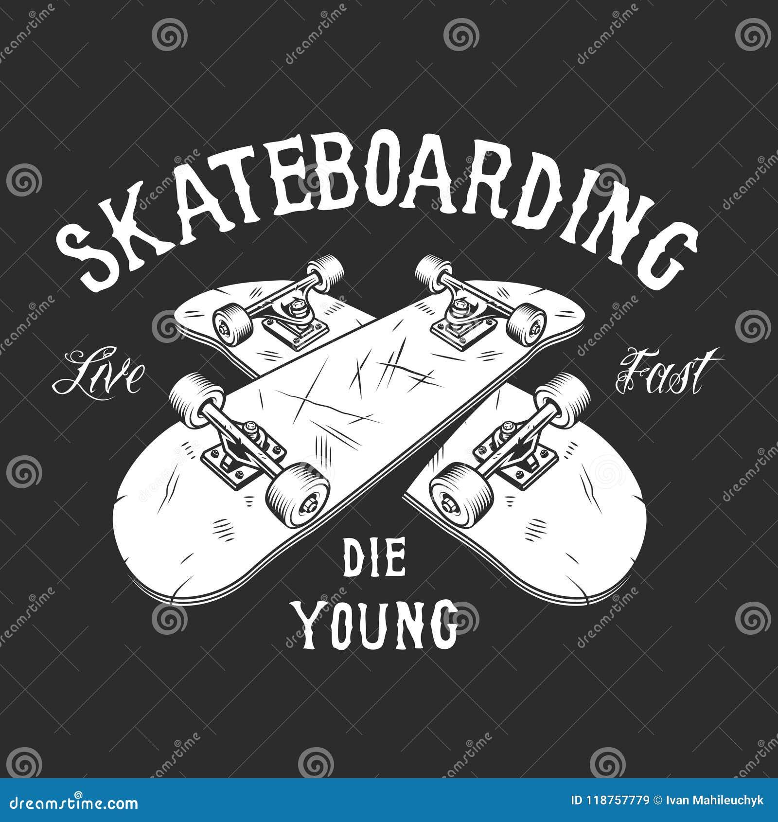 Vintage Skateboarding White Label Stock Vector