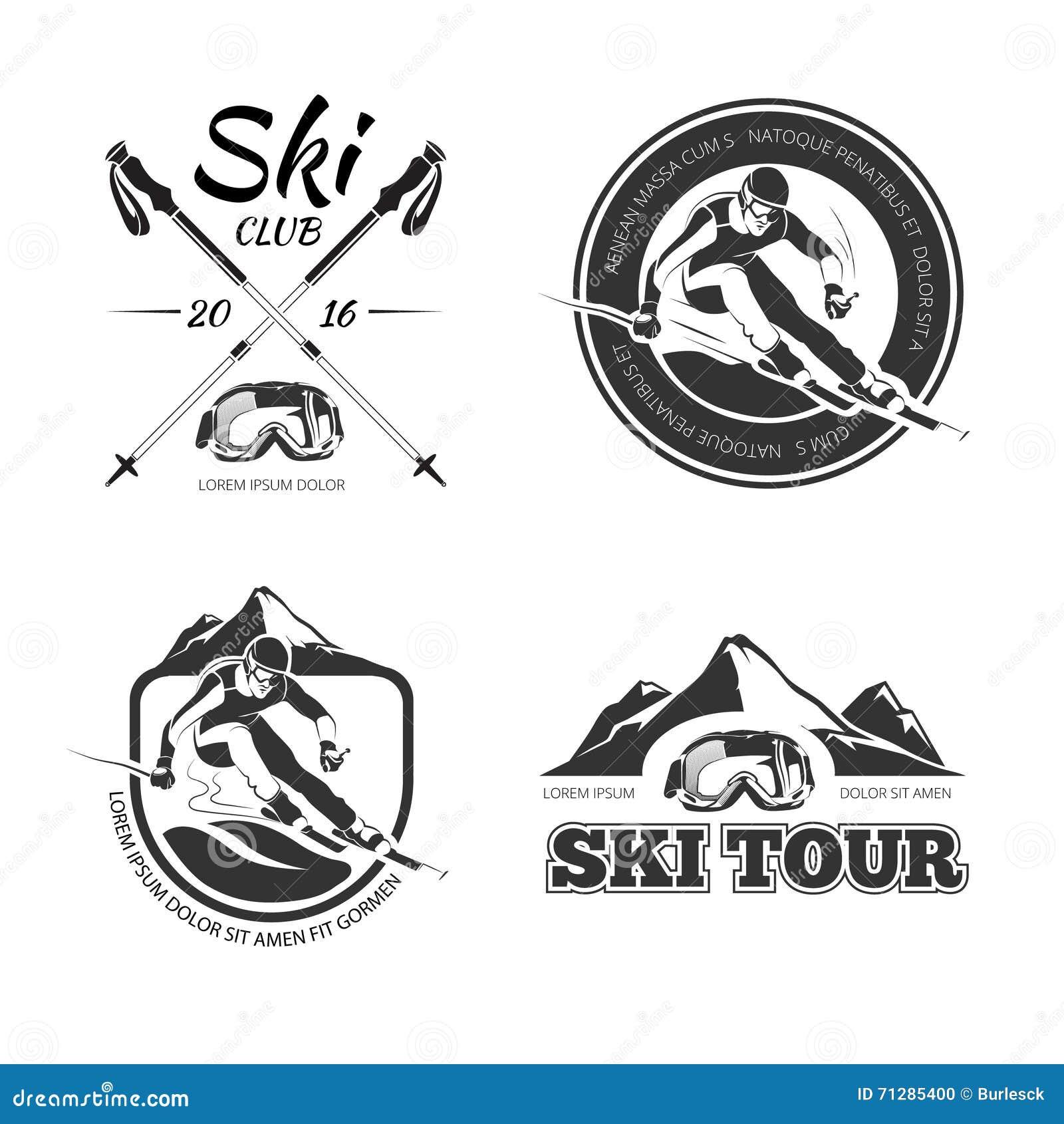 Set Of Vintage Sports Emblems Labels Badges And Logos Monochrome Style:  Monochrome Winter Sport Extreme Labels Set Vector