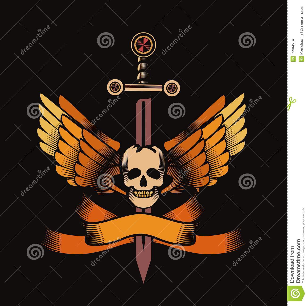 Vintage Skull With Sword And Wings Emblem Cartoon Vector