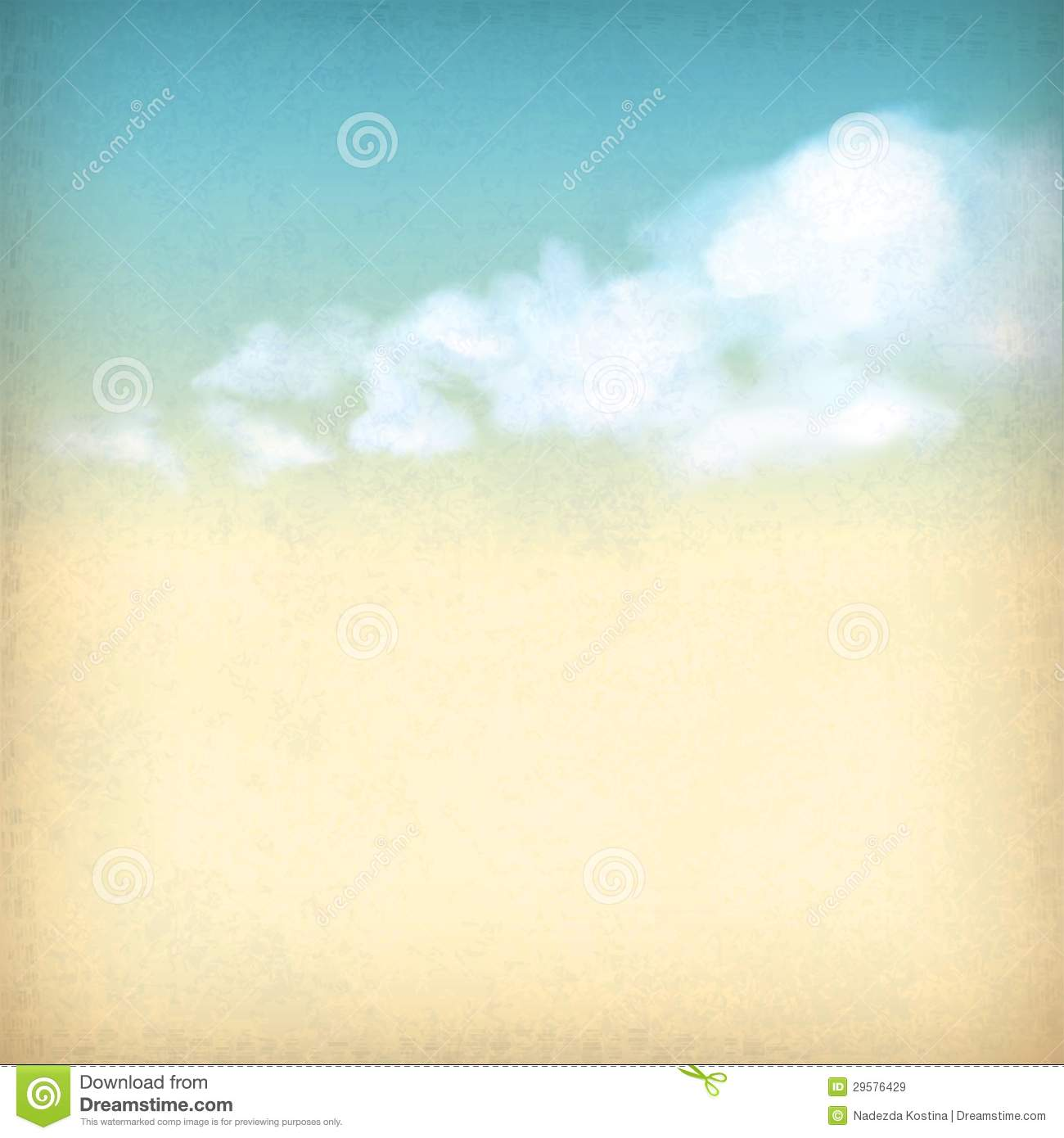 Vintage sky clouds old paper textured background
