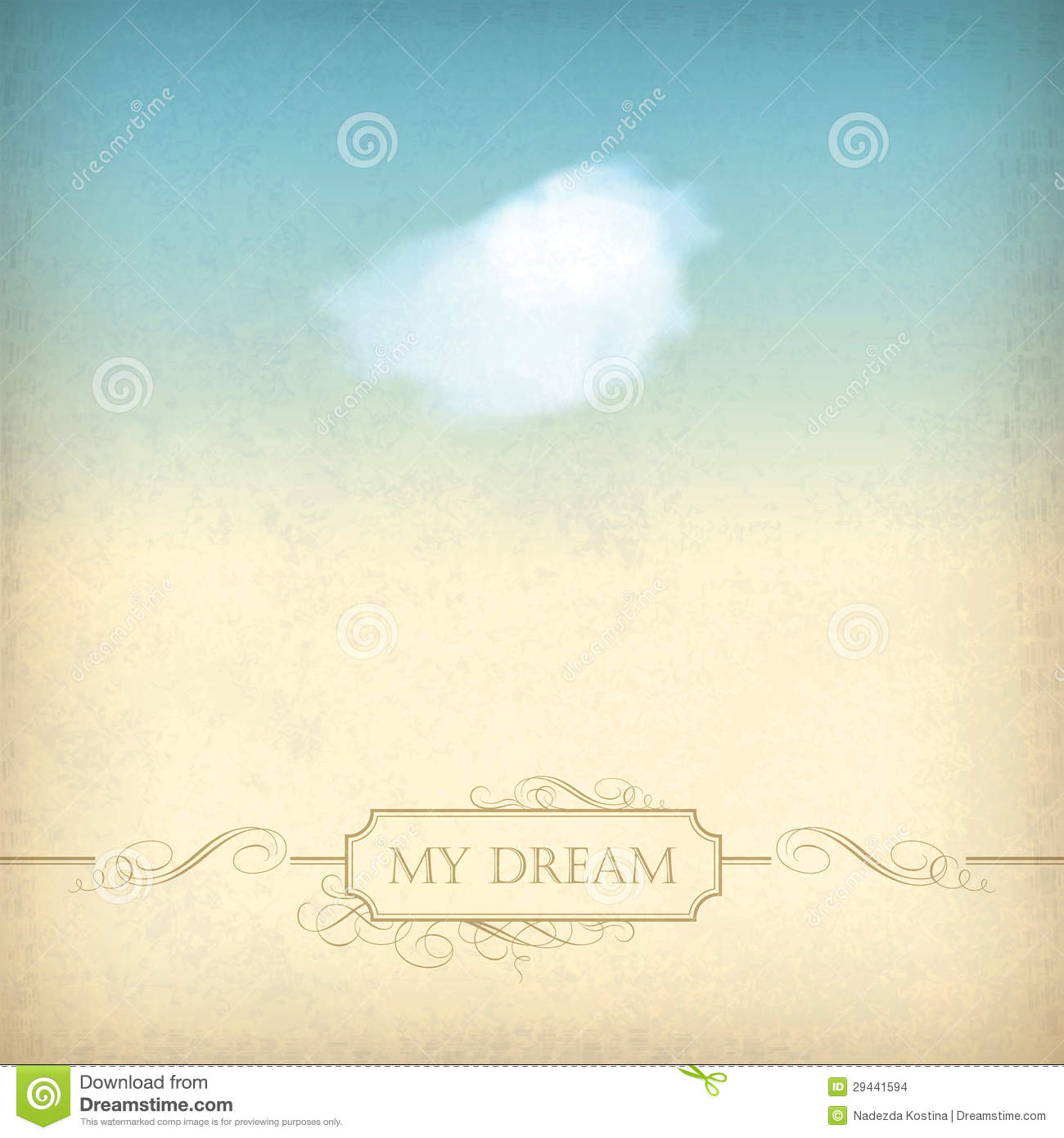 Vintage Sky Old Paper Background With Cloud Frame Stock