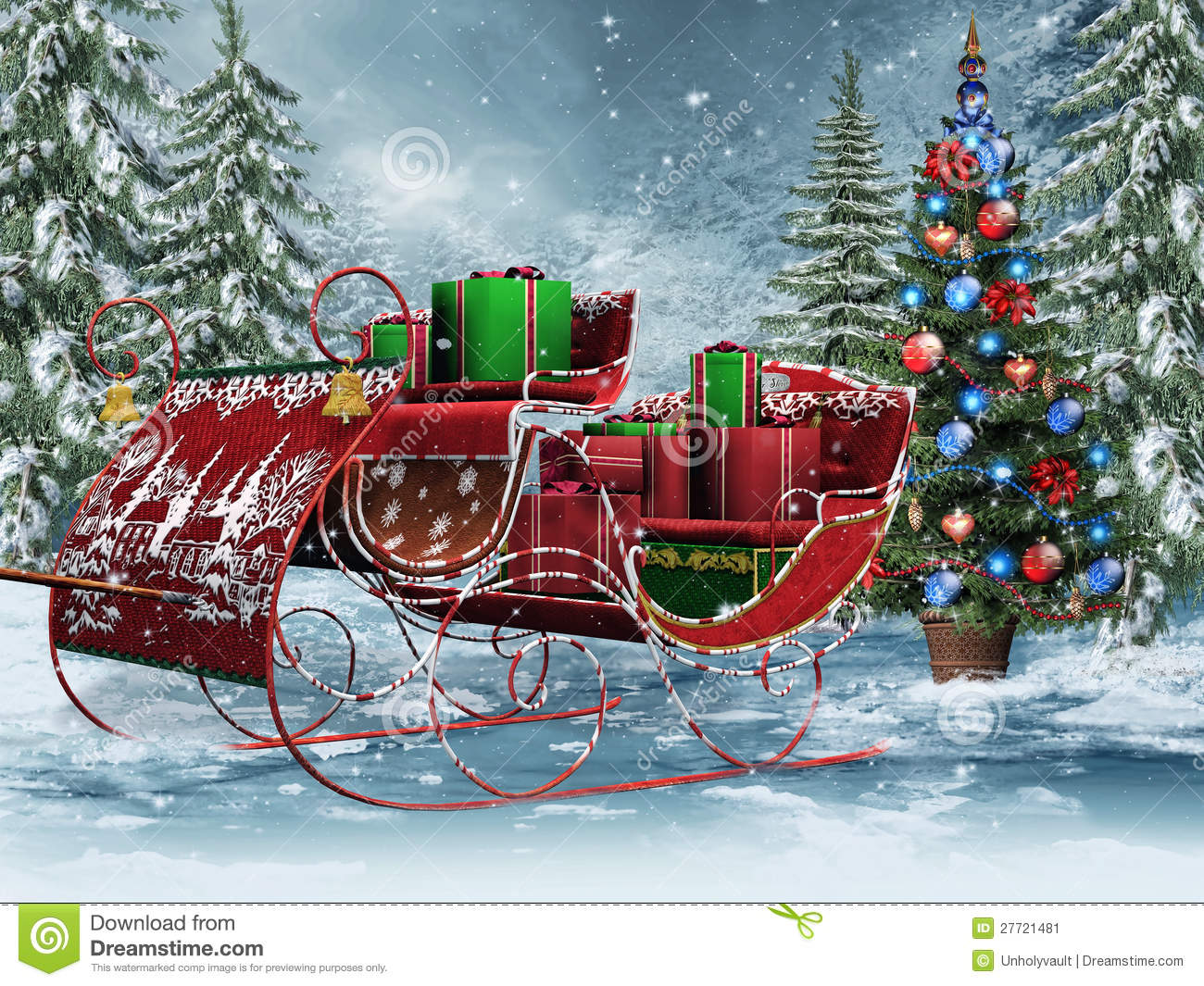 Vintage Sleigh With Gifts Stock Image - Image: 27721481