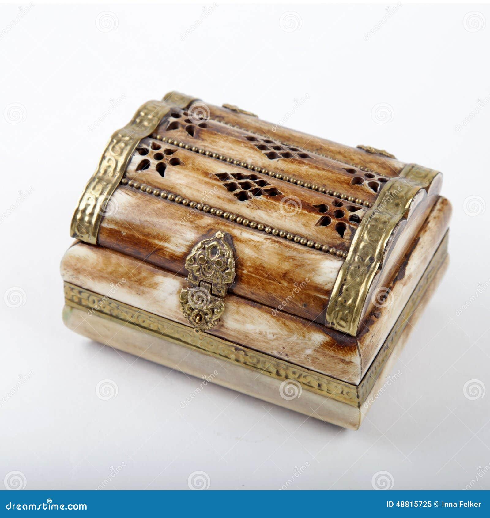 Vintage Small Ornate Treasure Box Made Of Camel Bone Stock