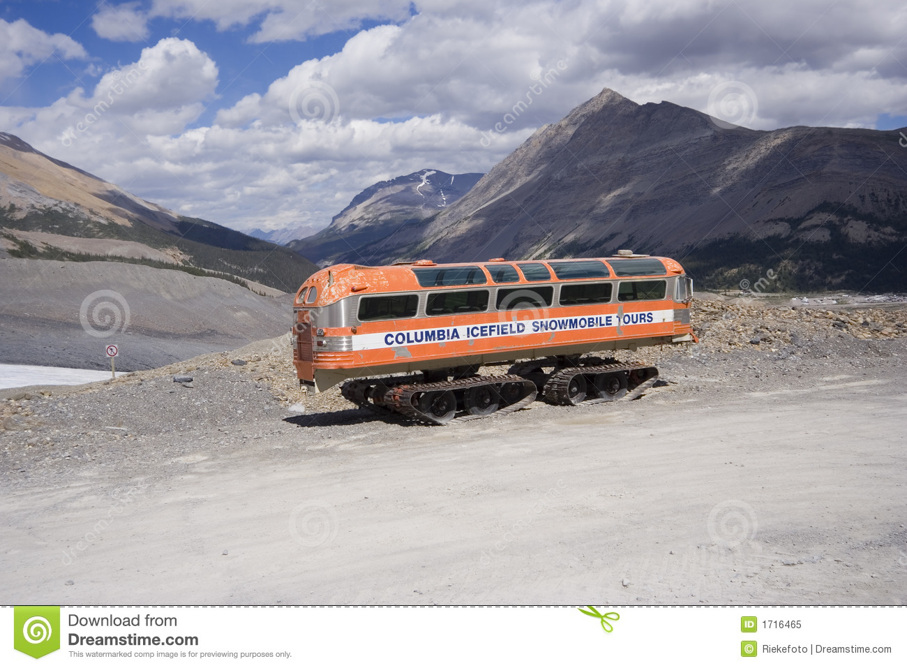 Vintage snowmobile in the rocky mountains - columbia icefield, jasper ...