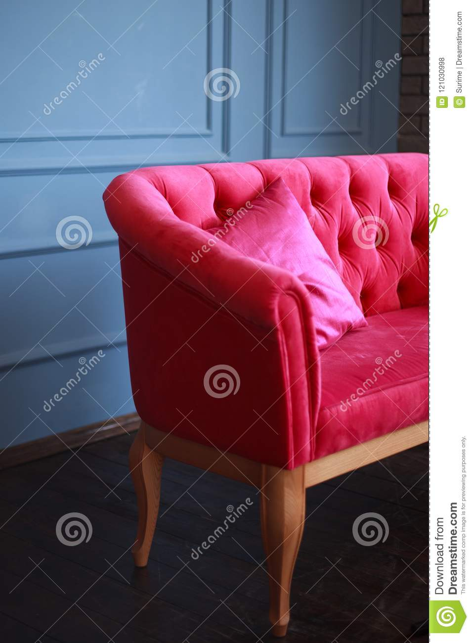 Remarkable Velvet Pink Sofa And Pink Satin Pillow Stock Photo Image Machost Co Dining Chair Design Ideas Machostcouk