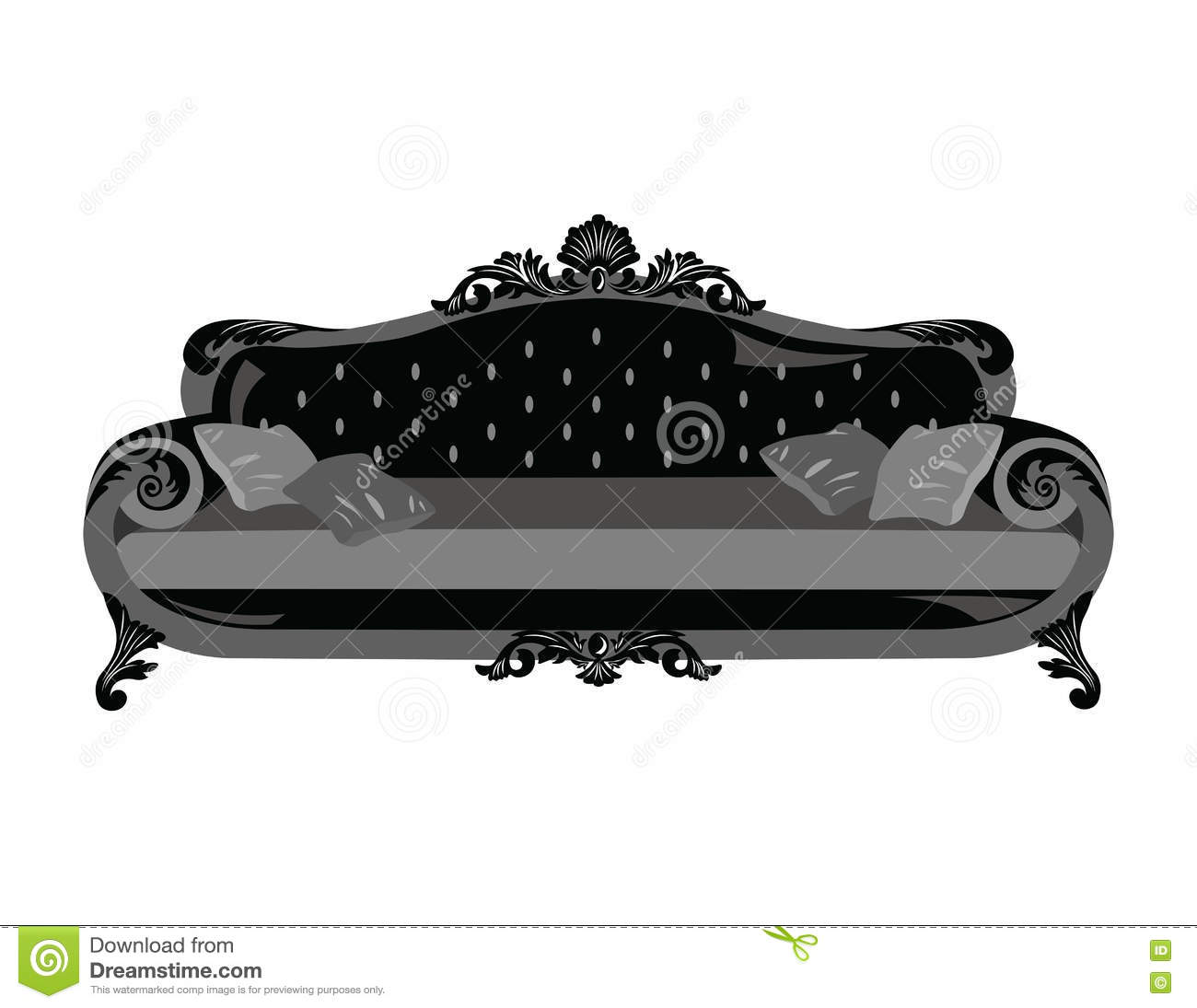 Vintage sofa vector rich carved ornaments furniture vector victorian style couch black color sketch