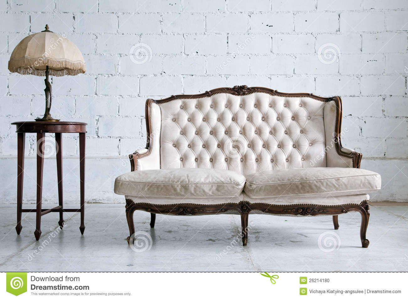 white vintage couch.  Vintage Vintage Sofa Room With White Couch M