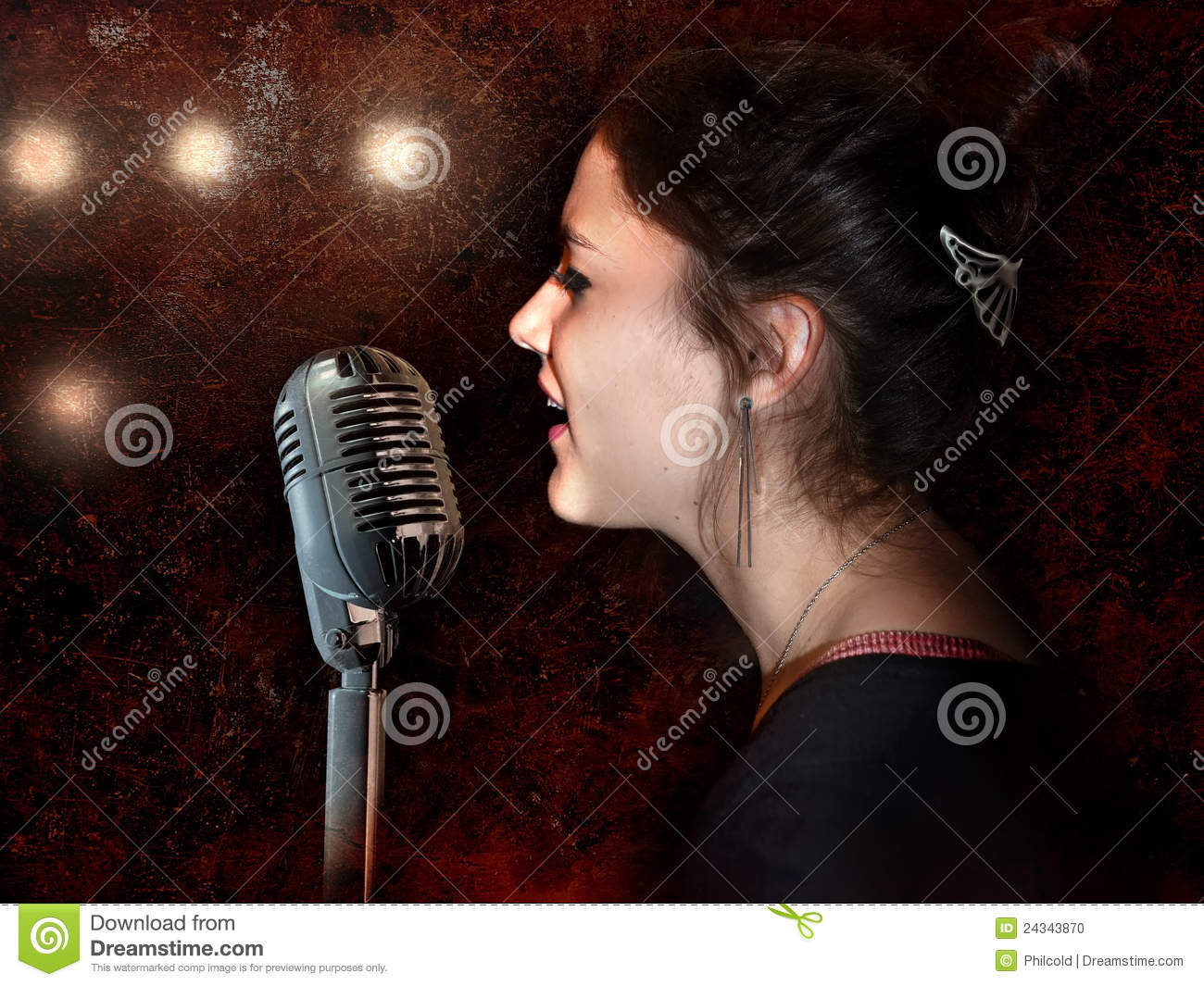 Vintage Soul Singer Stock Photo