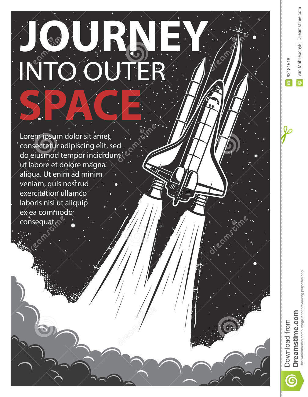 Vintage space poster with shuttle stock vector image for Outer space poster design